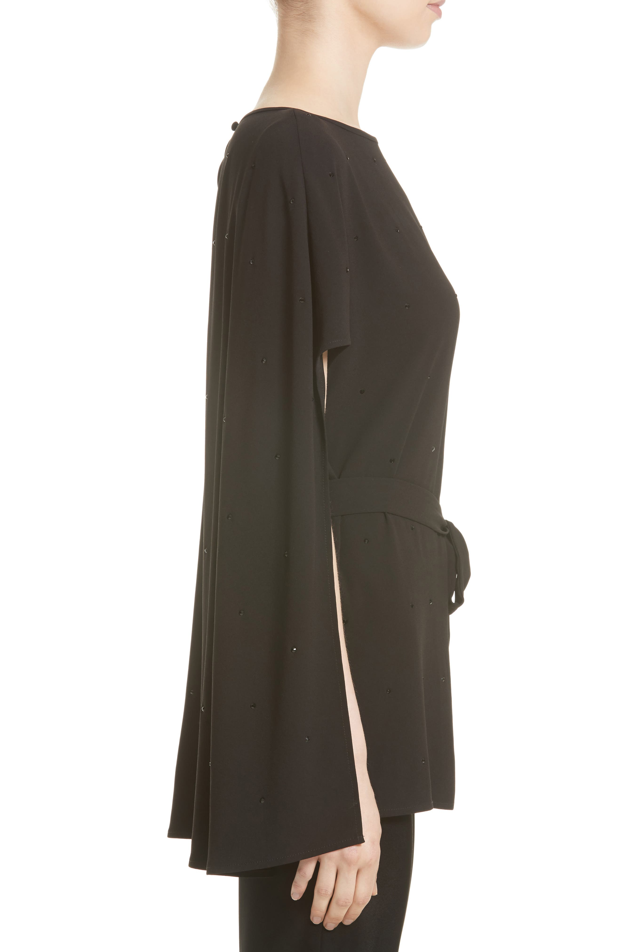 Satin-Back Crepe Cape Top,                             Alternate thumbnail 3, color,                             001