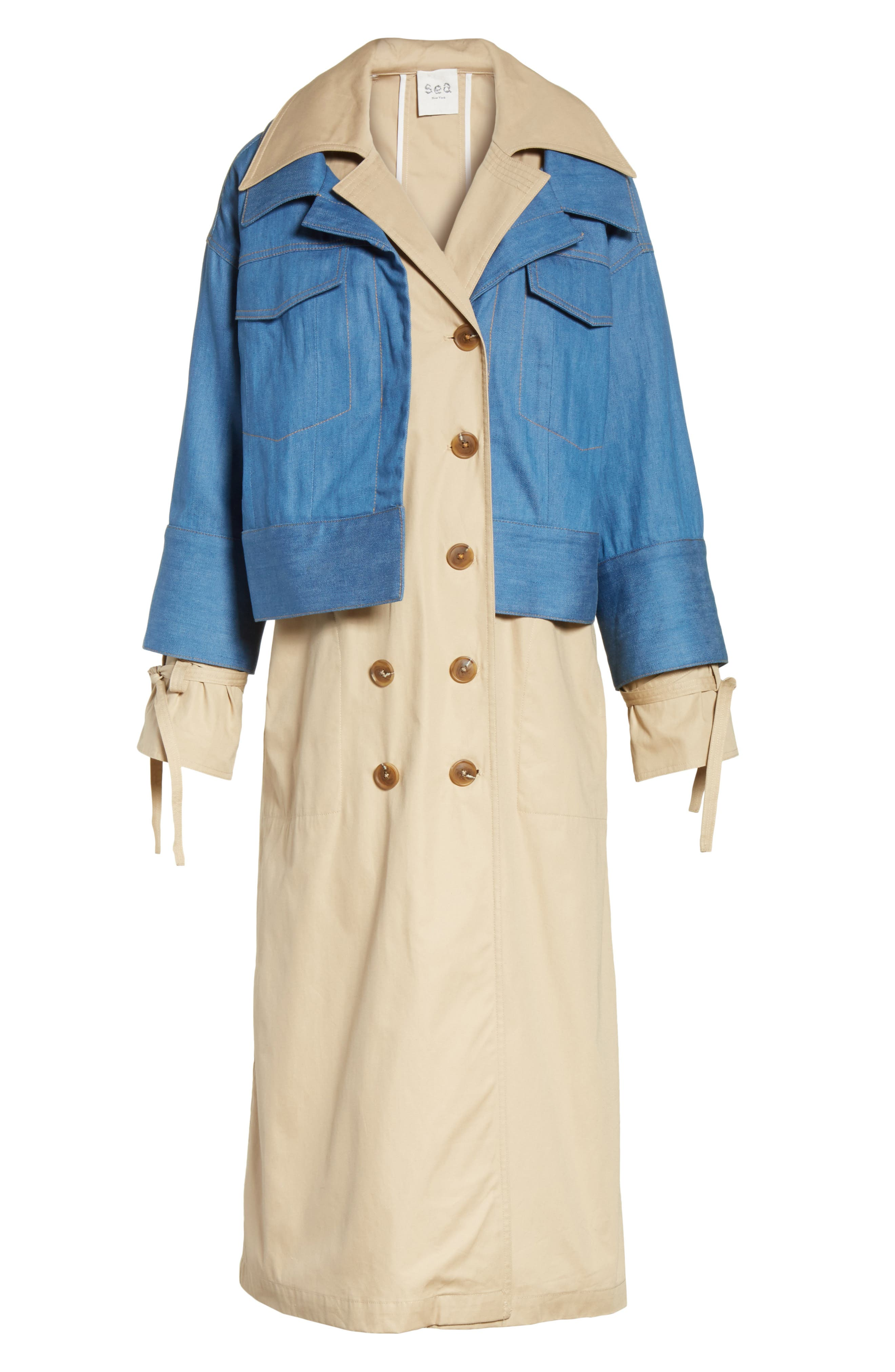 Denim Overlay Trench Coat,                             Alternate thumbnail 5, color,