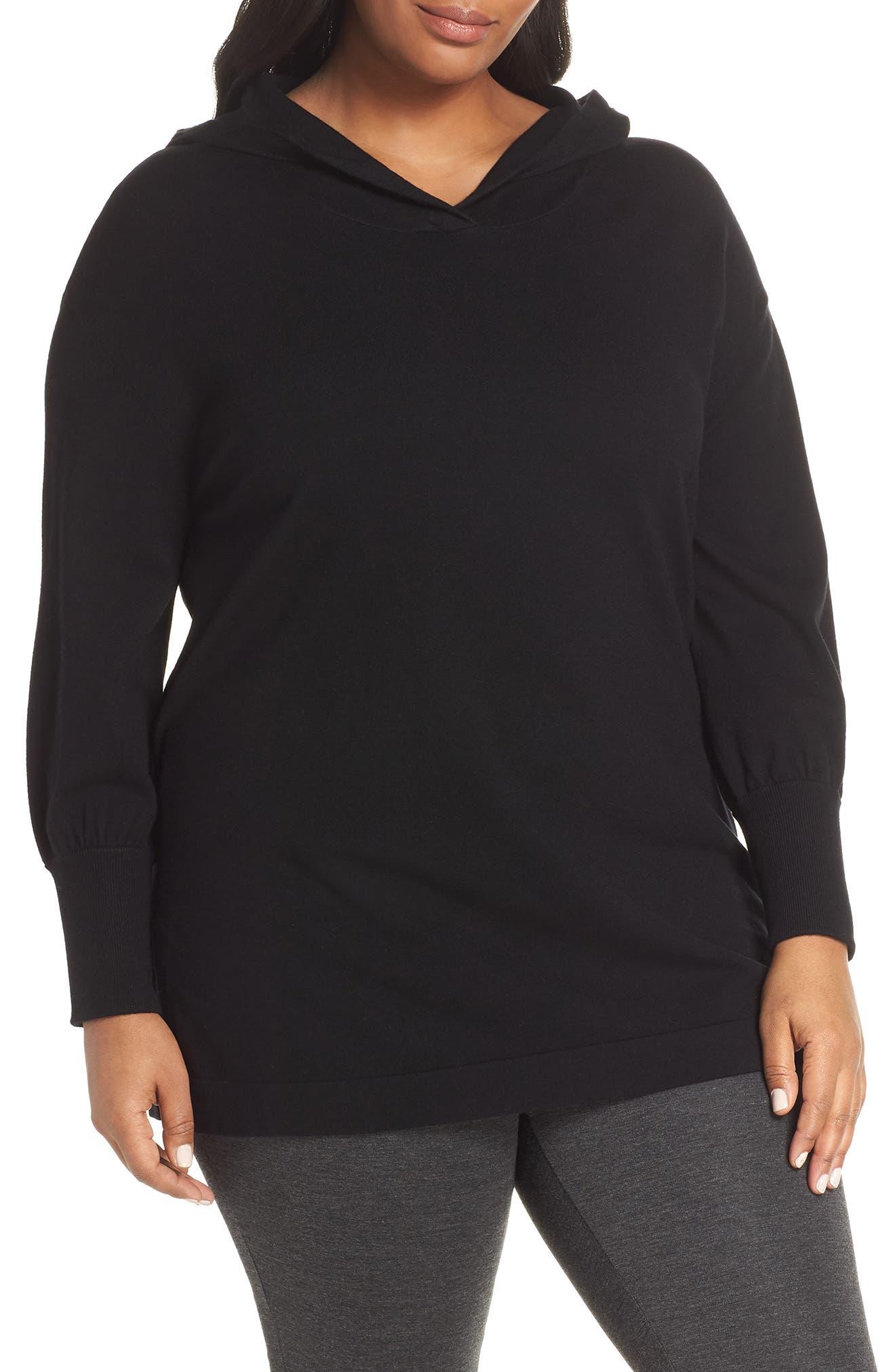 Puff Sleeve Long Hoodie,                         Main,                         color, BLACK