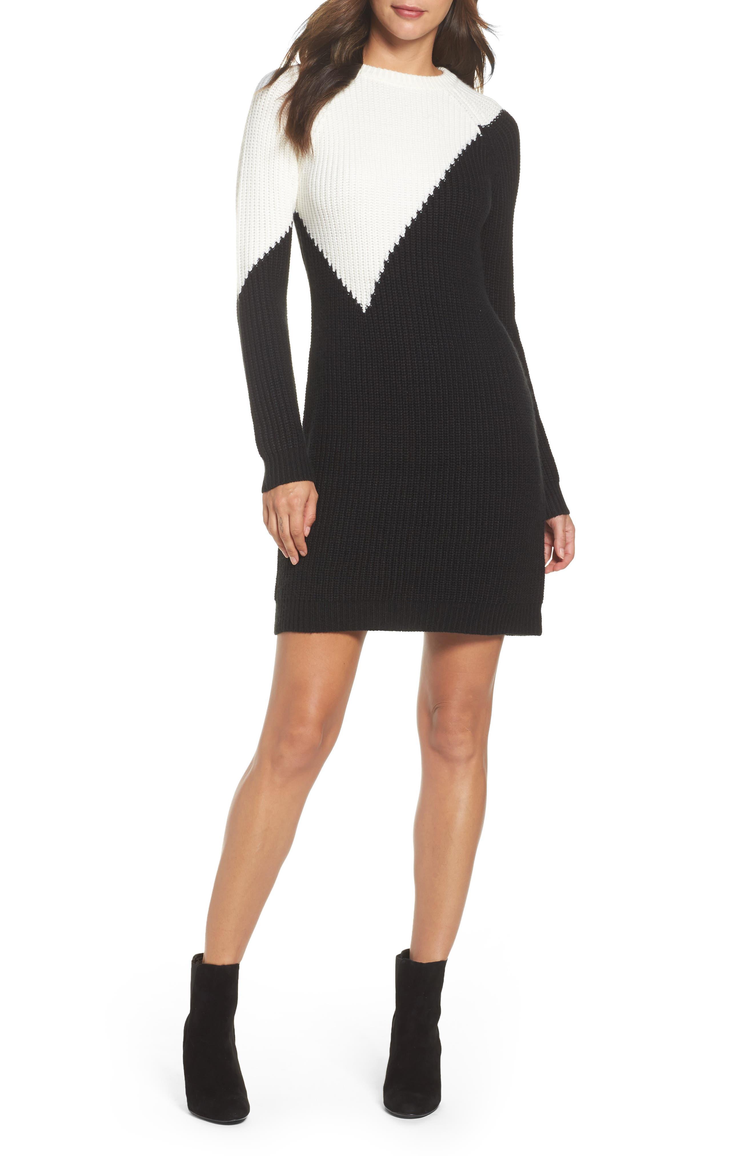 Colorblock Sweater Dress,                             Main thumbnail 1, color,                             010