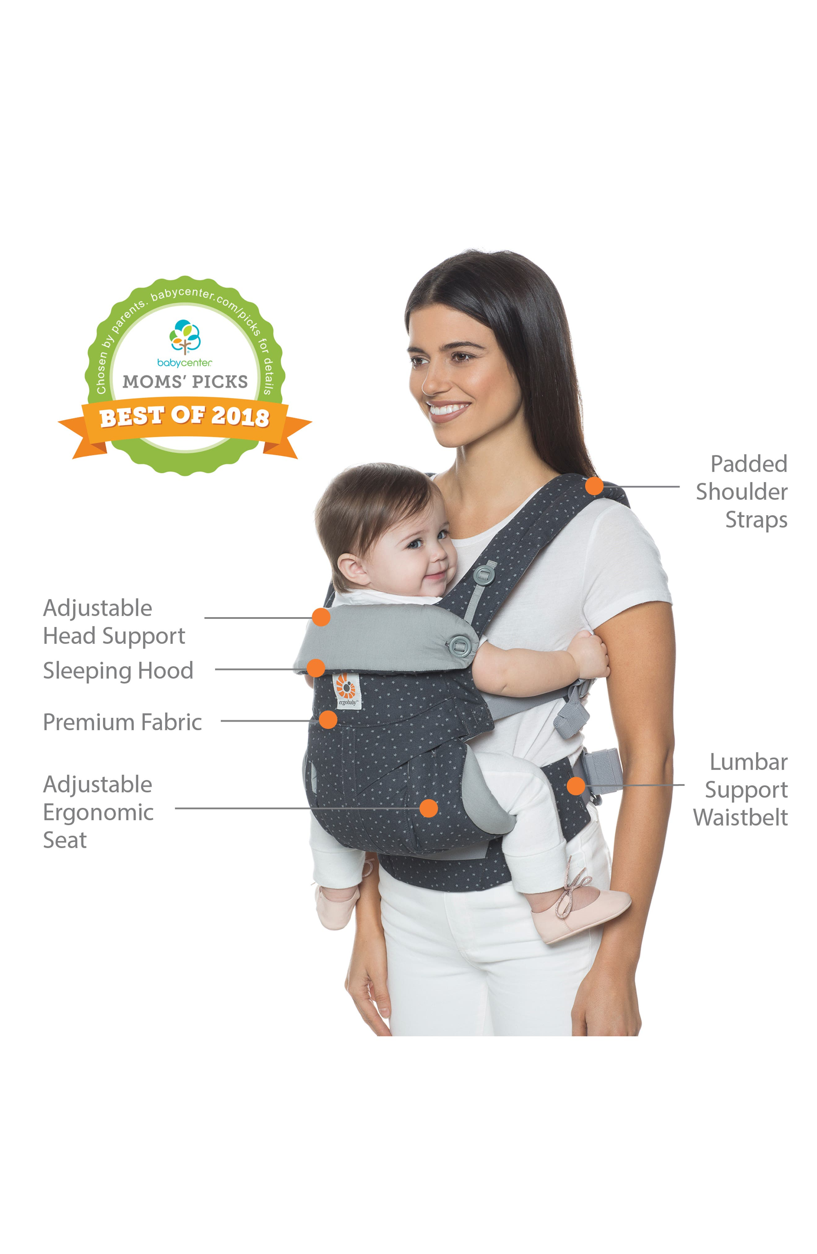 '360' Baby Carrier,                             Alternate thumbnail 6, color,                             GREY WITH STARS