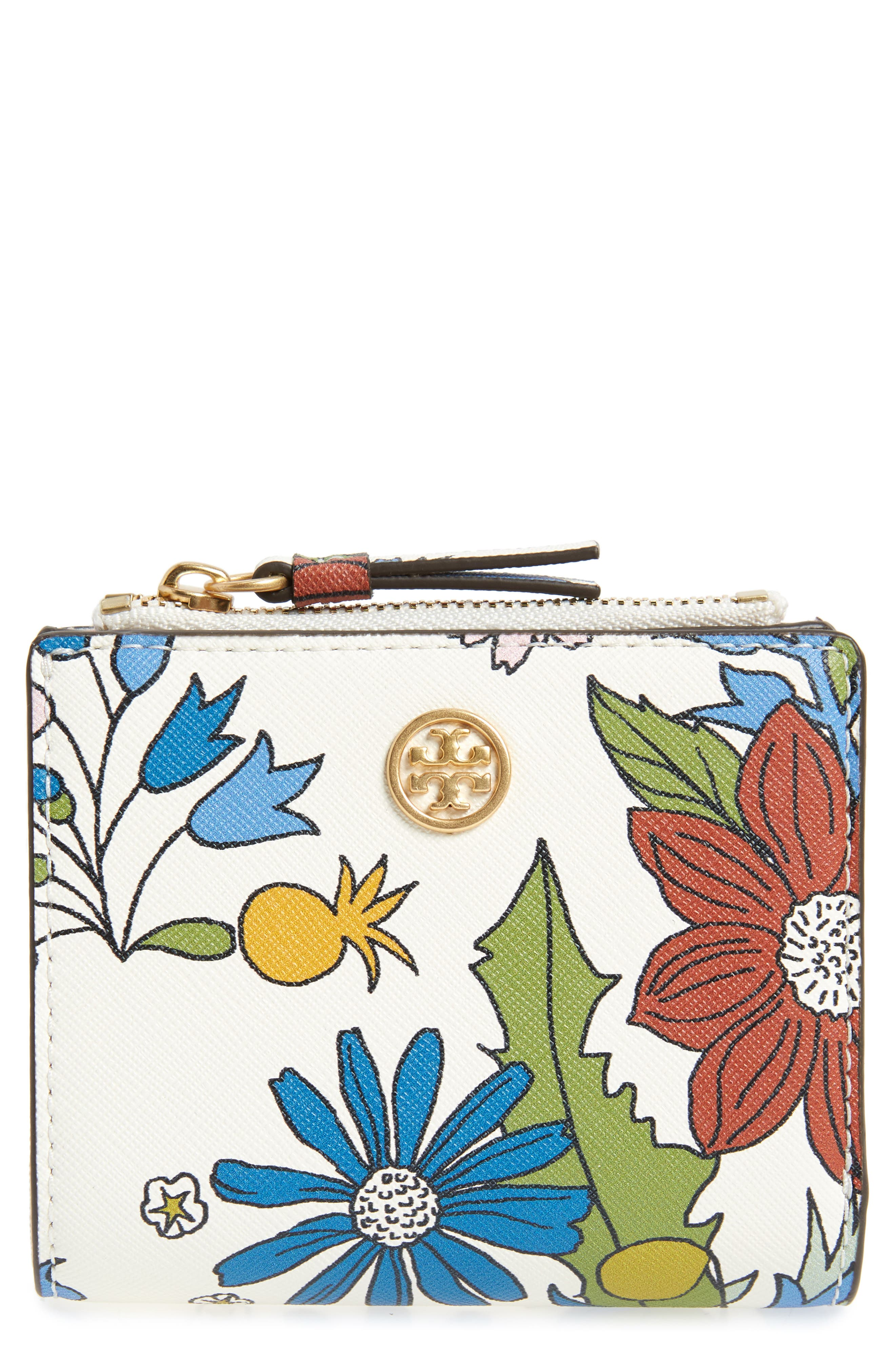 Mini Robinson Floral Leather Wallet,                             Main thumbnail 1, color,                             IVORY MEADOW SWEET
