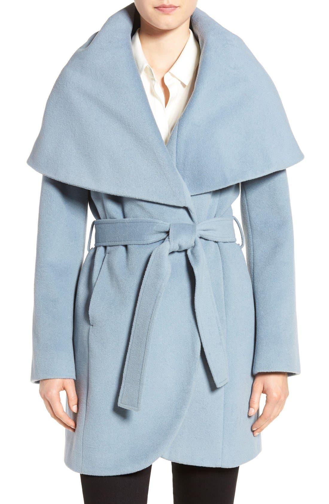 T Tahari Wool Blend Belted Wrap Coat,                             Main thumbnail 8, color,