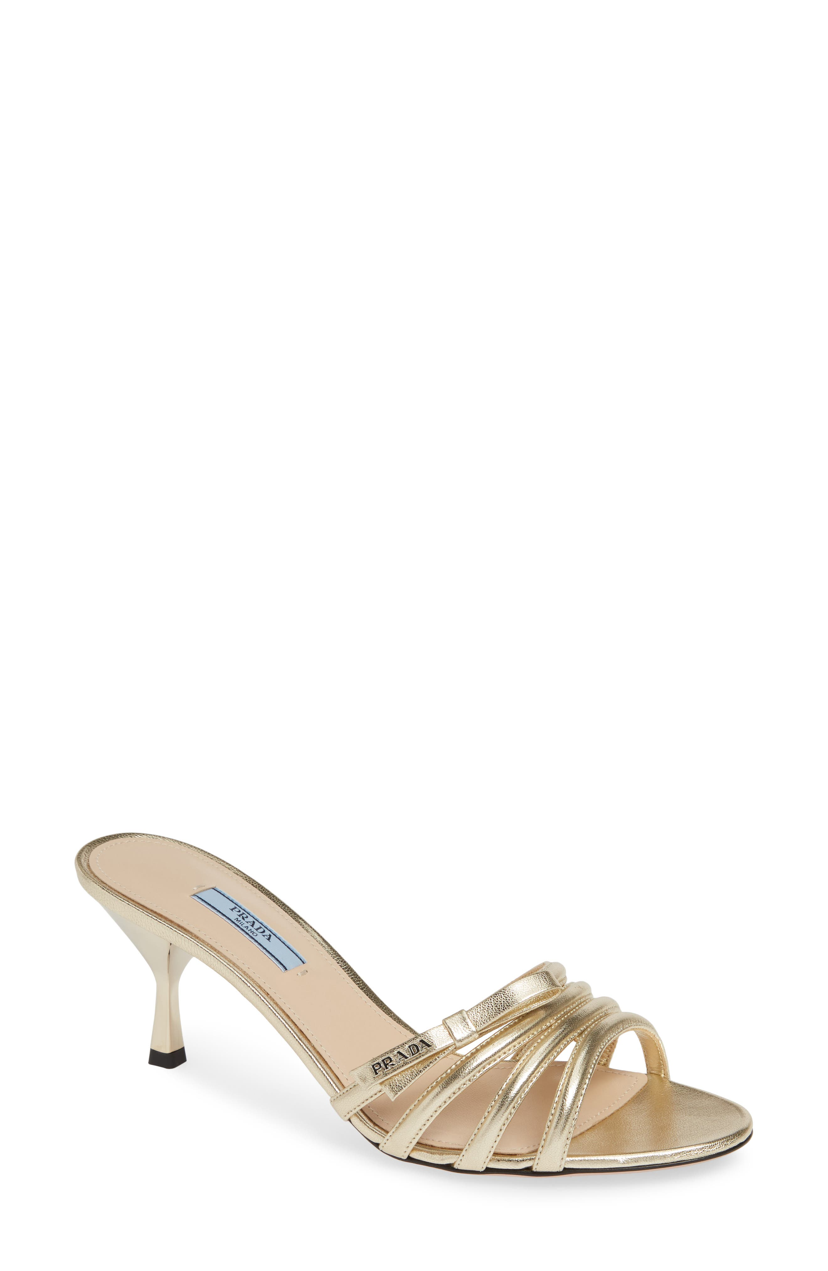 PRADA Metallic Slide Sandal, Main, color, PIRITE