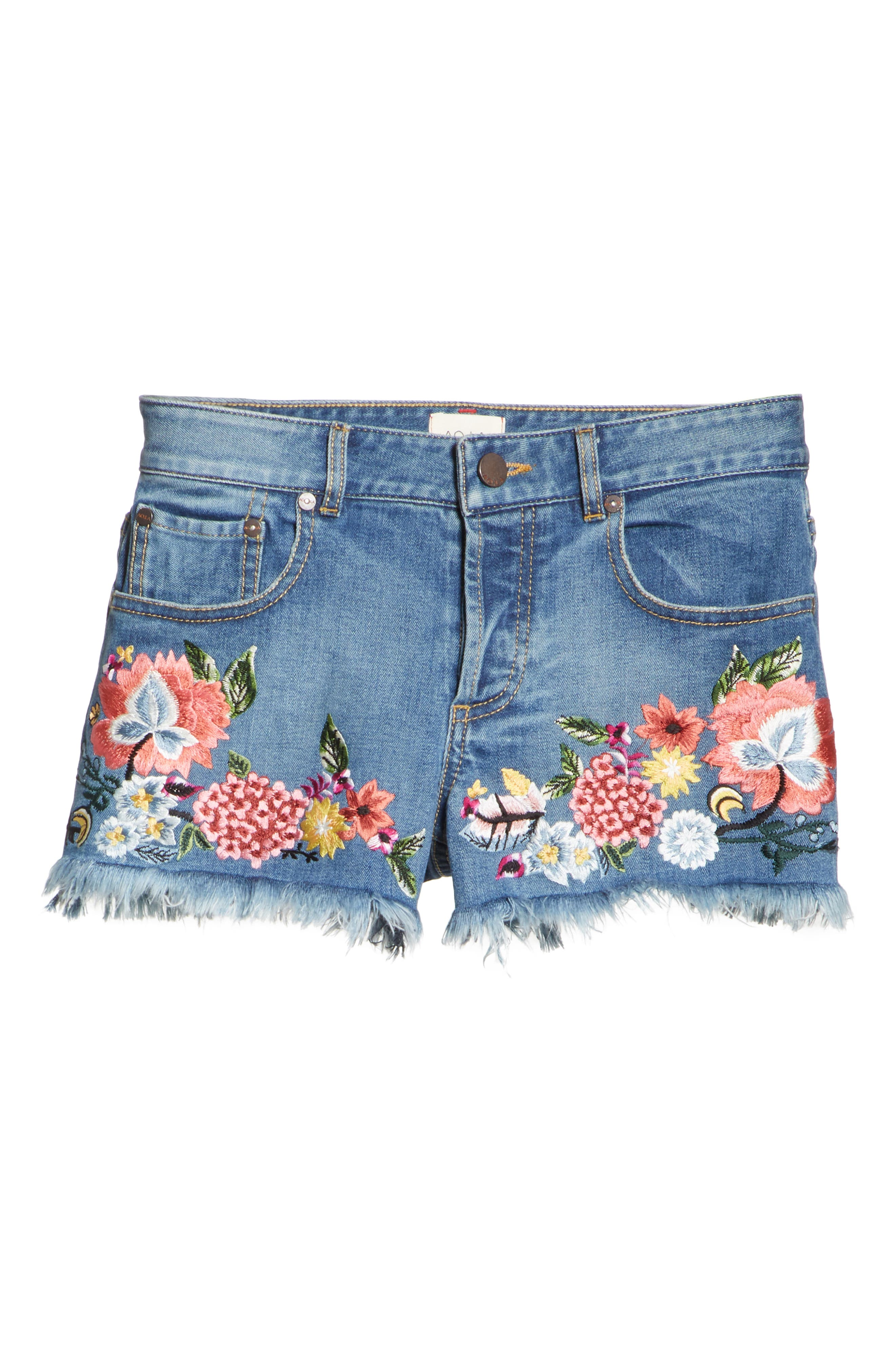 ALICE + OLIVIA JEANS,                             Embroidered Denim Shorts,                             Alternate thumbnail 6, color,                             460