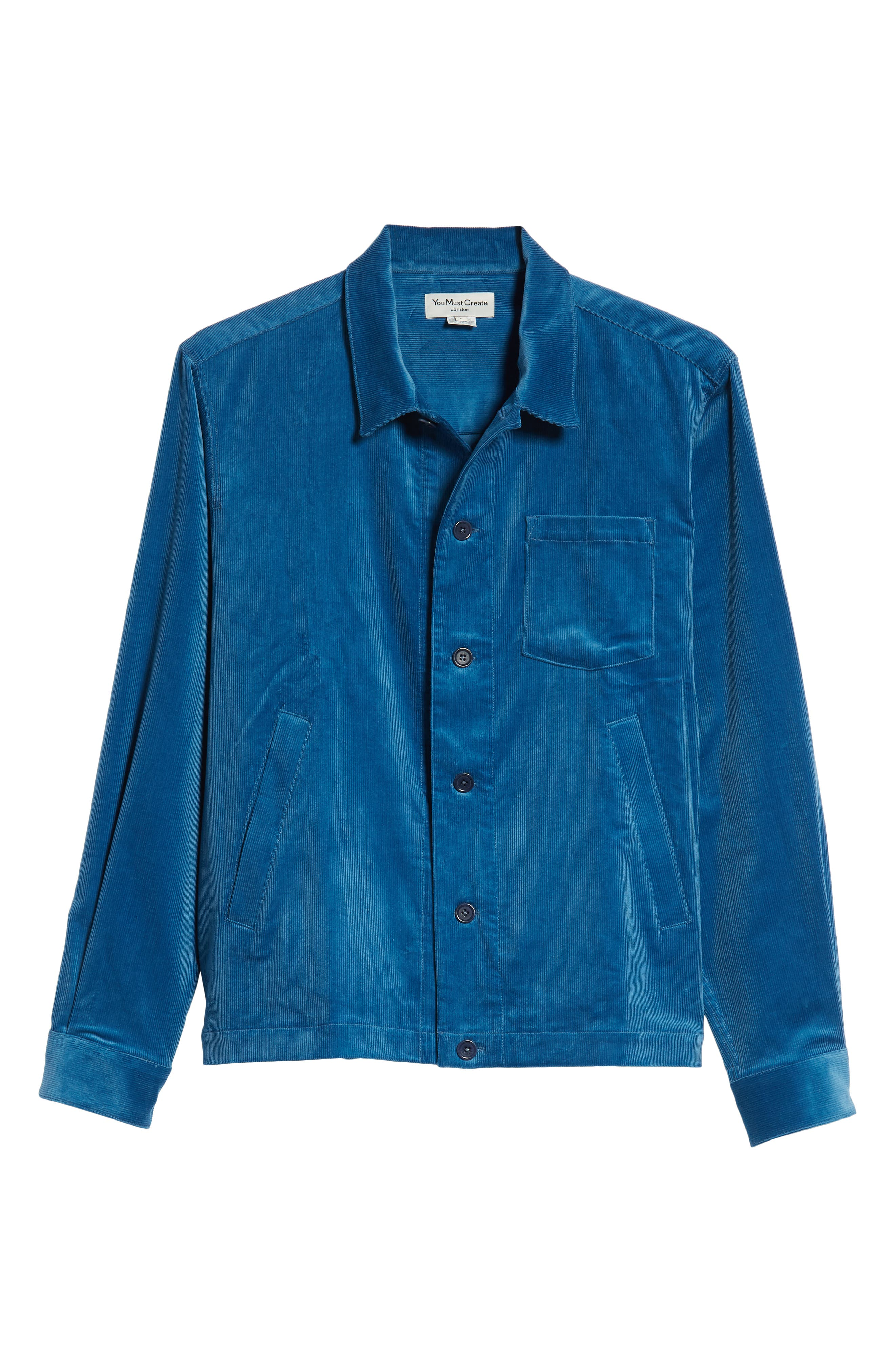 Corduroy Stretch Shirt Jacket,                             Alternate thumbnail 5, color,                             BLUE