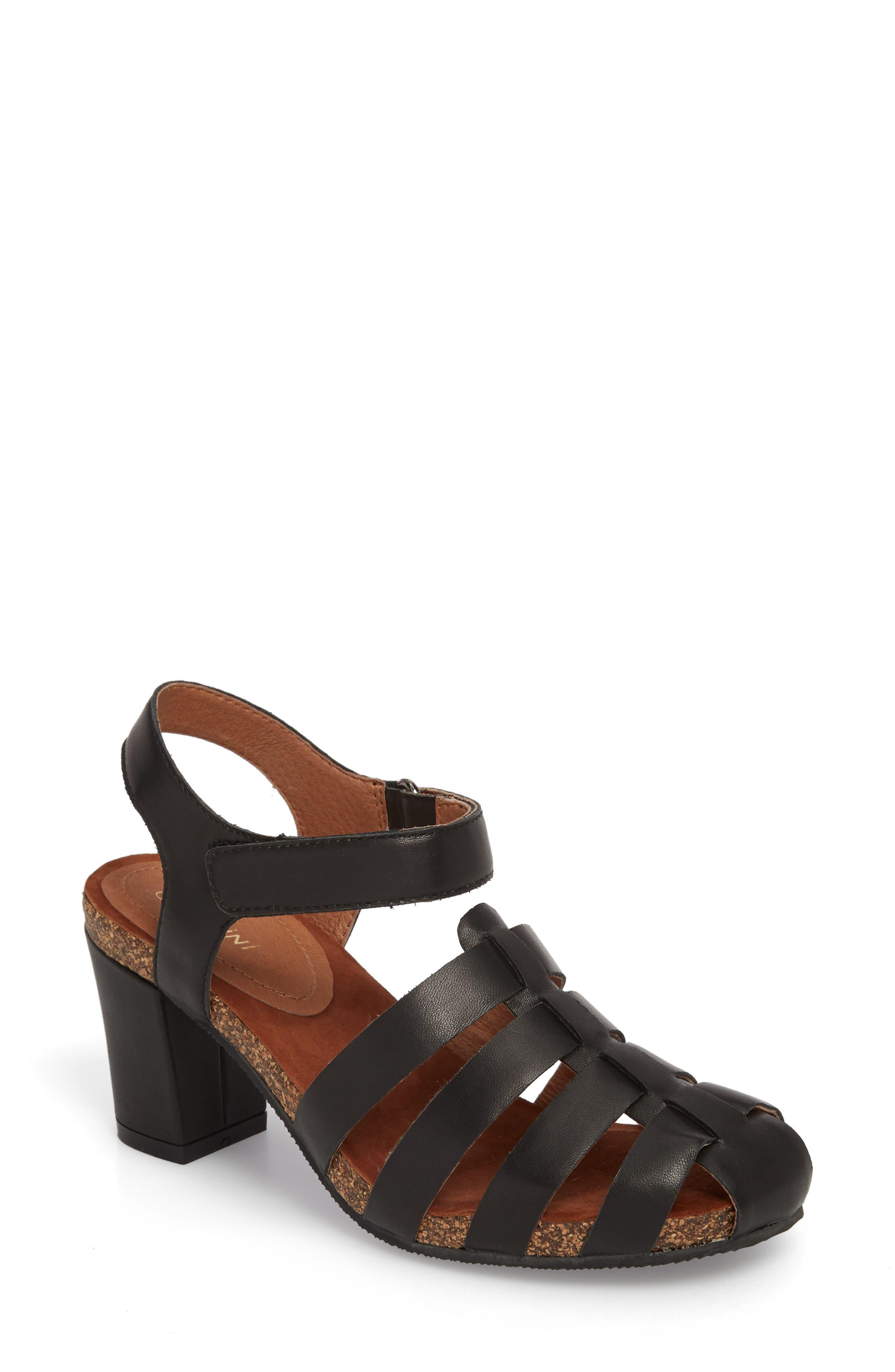 Carrara Block Heel Sandal,                             Main thumbnail 1, color,                             BLACK LEATHER