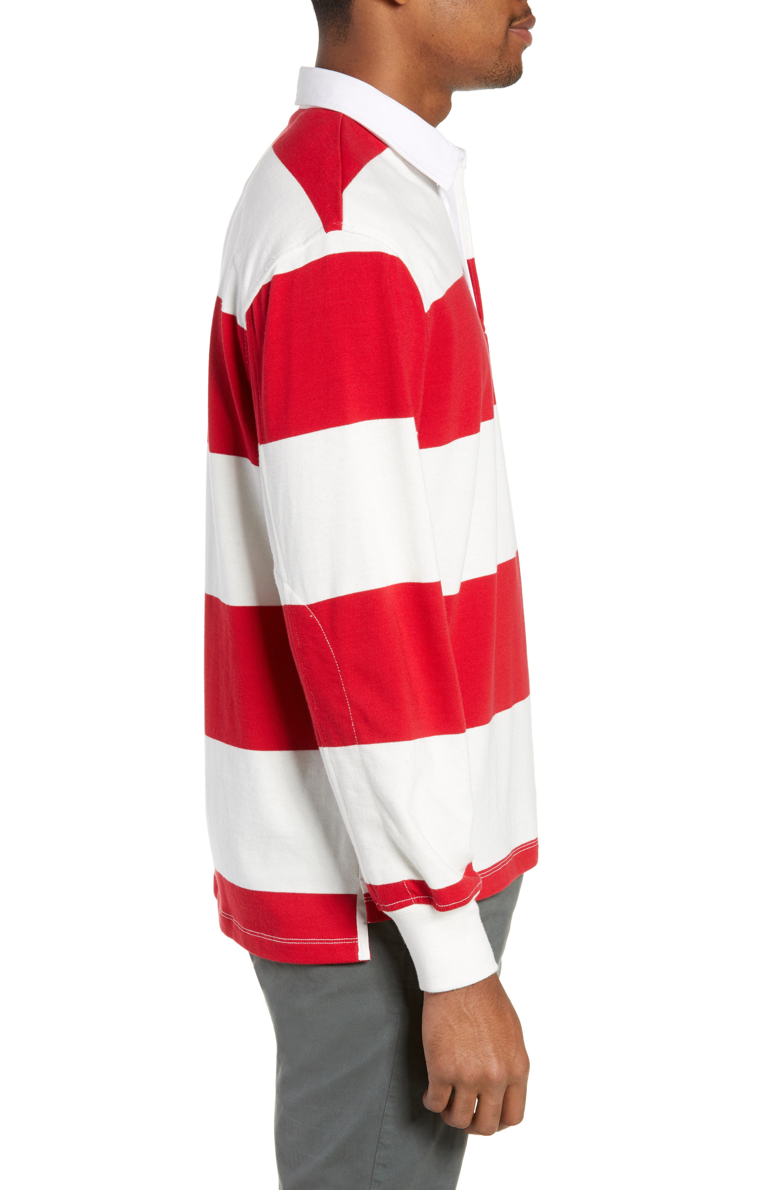 Regular Fit Rugby Shirt,                             Alternate thumbnail 3, color,                             RED/ IVORY