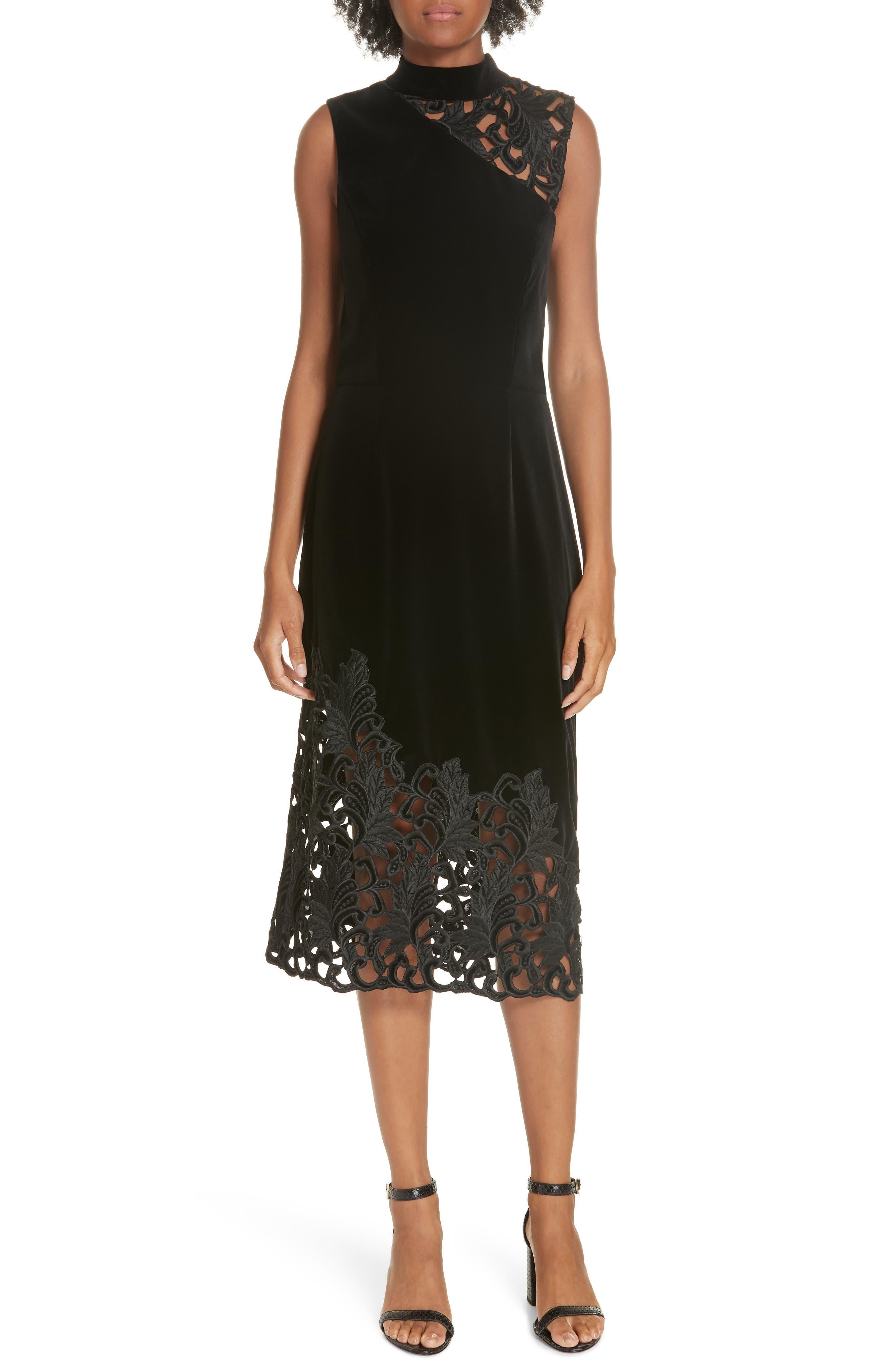 Kiana Velvet & Lace Midi Dress,                             Main thumbnail 1, color,                             001