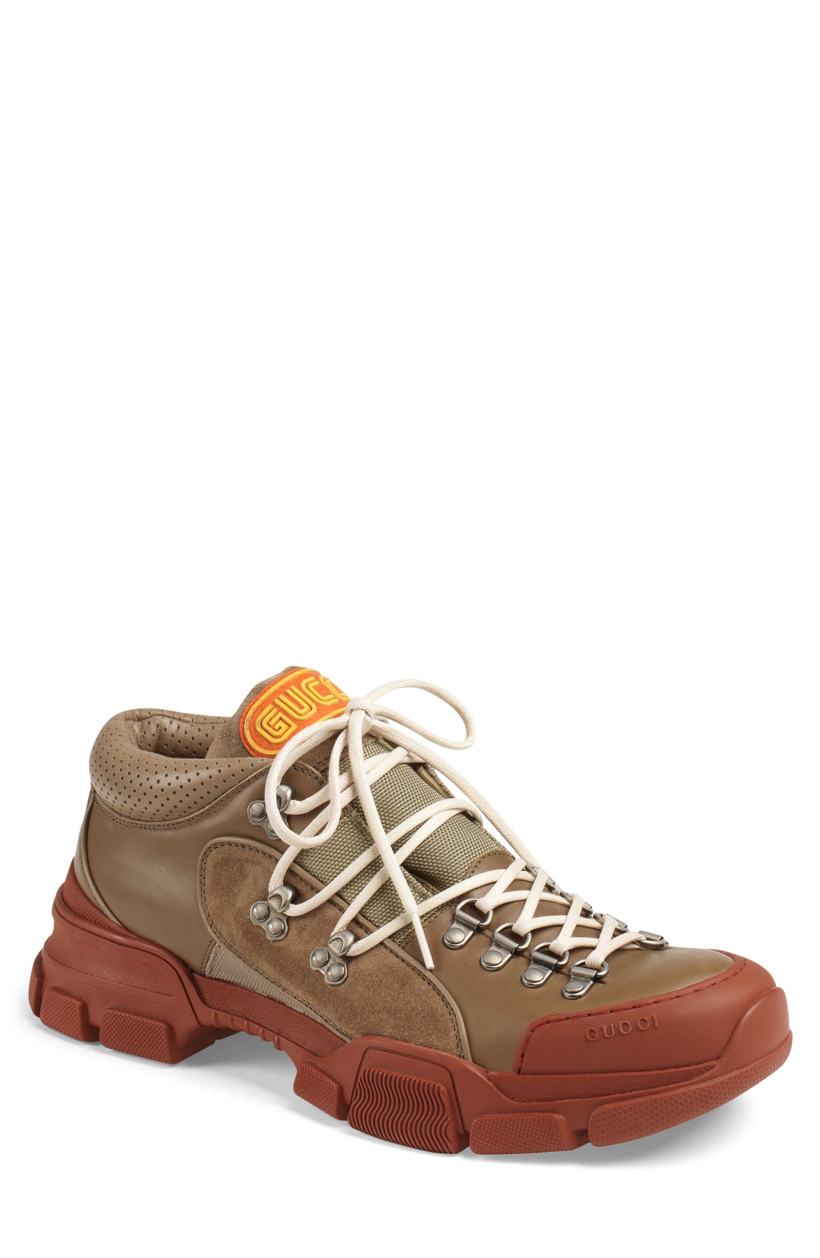 Gucci Leather & Original Gg Trekking Boot, Beige
