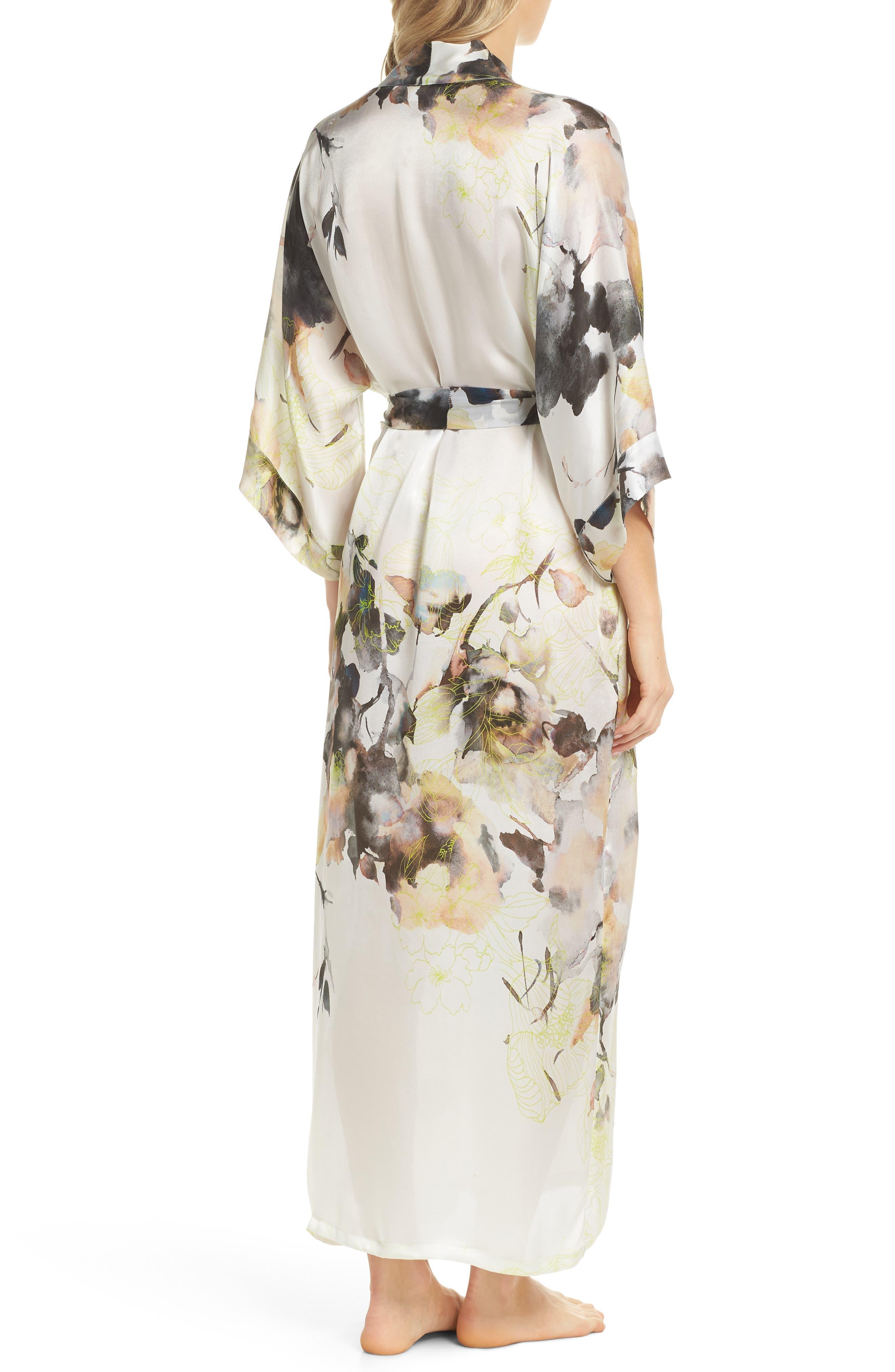 Floral Print Silk Robe,                             Alternate thumbnail 2, color,                             LIMELIGHT PRINT