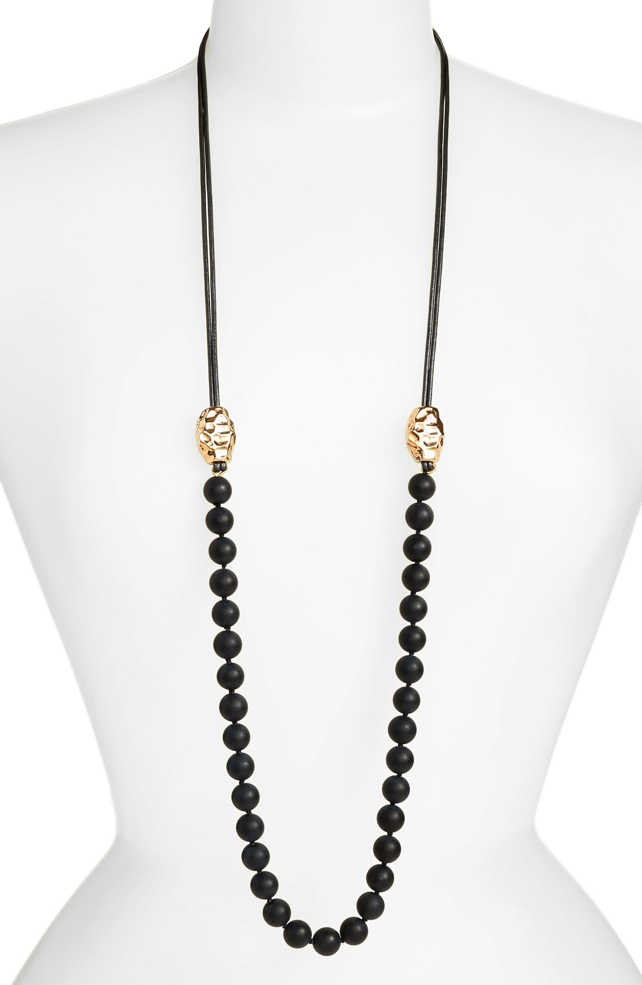 Vermeil Bead Matte Onyx Necklace,                         Main,                         color, 710