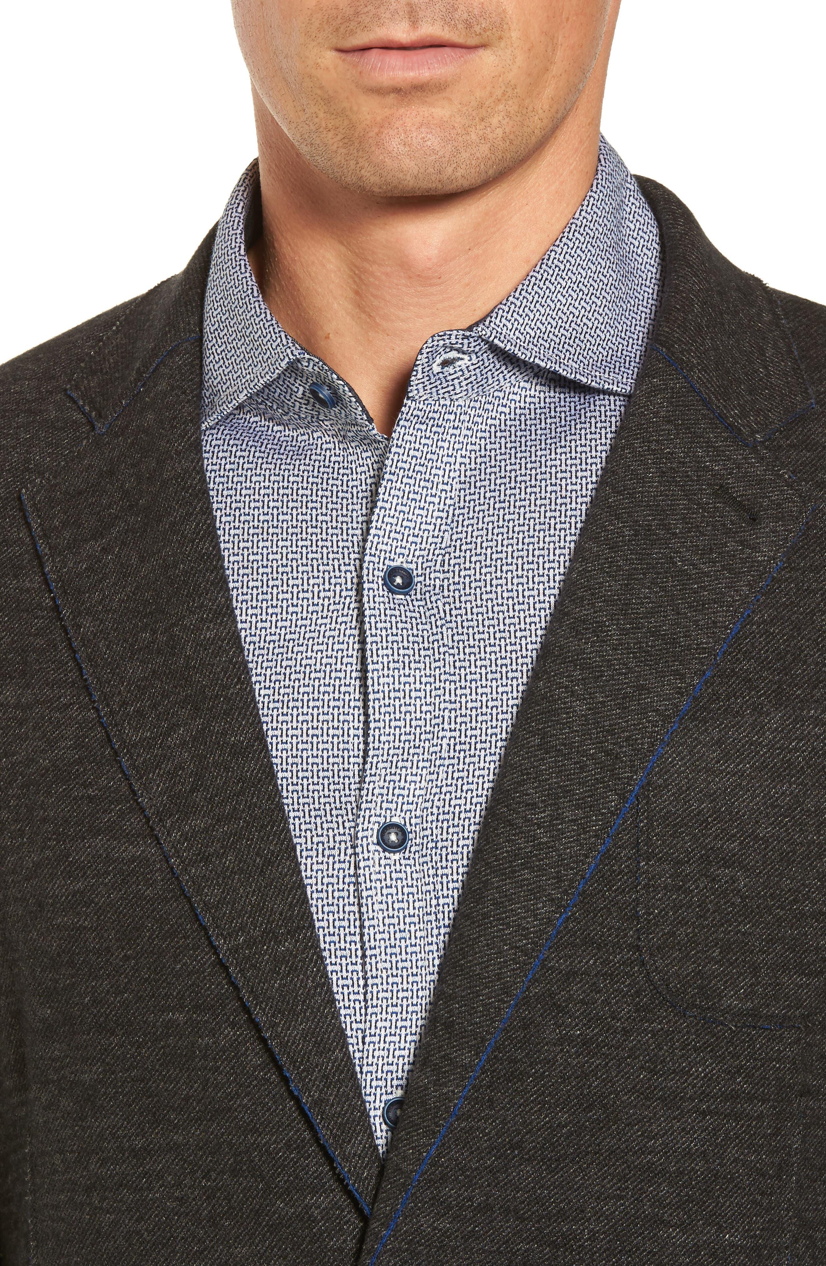 Raw Edge Cotton Blend Blazer,                             Alternate thumbnail 4, color,                             017