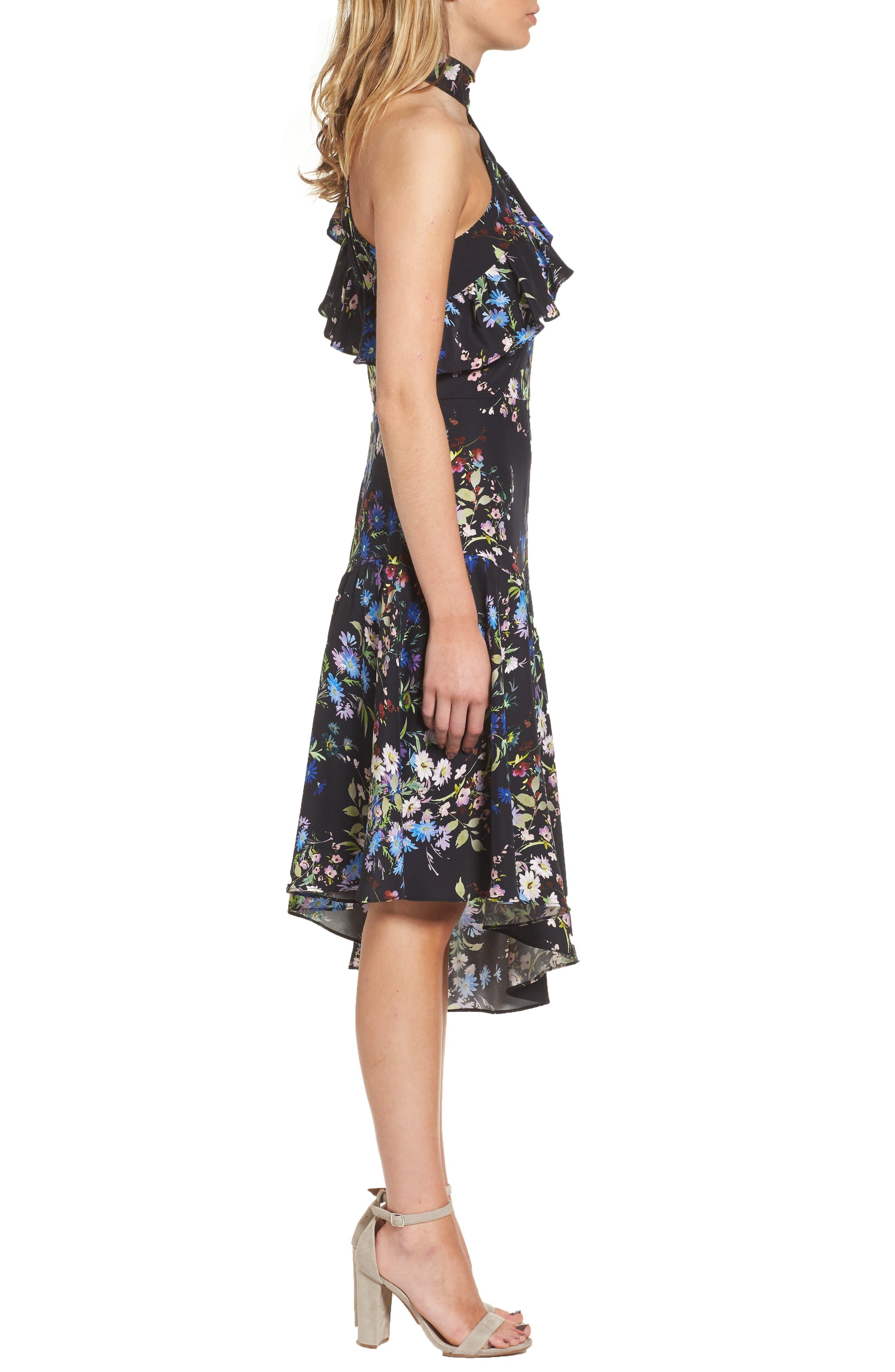 Rine One-Shoulder Silk Dress,                             Alternate thumbnail 3, color,                             016