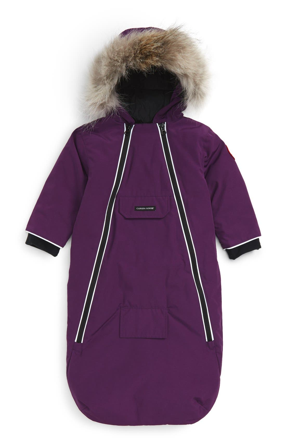 'Bunny' Hooded Bunting with Genuine Coyote Fur Trim,                             Main thumbnail 1, color,                             ARCTIC DUSK