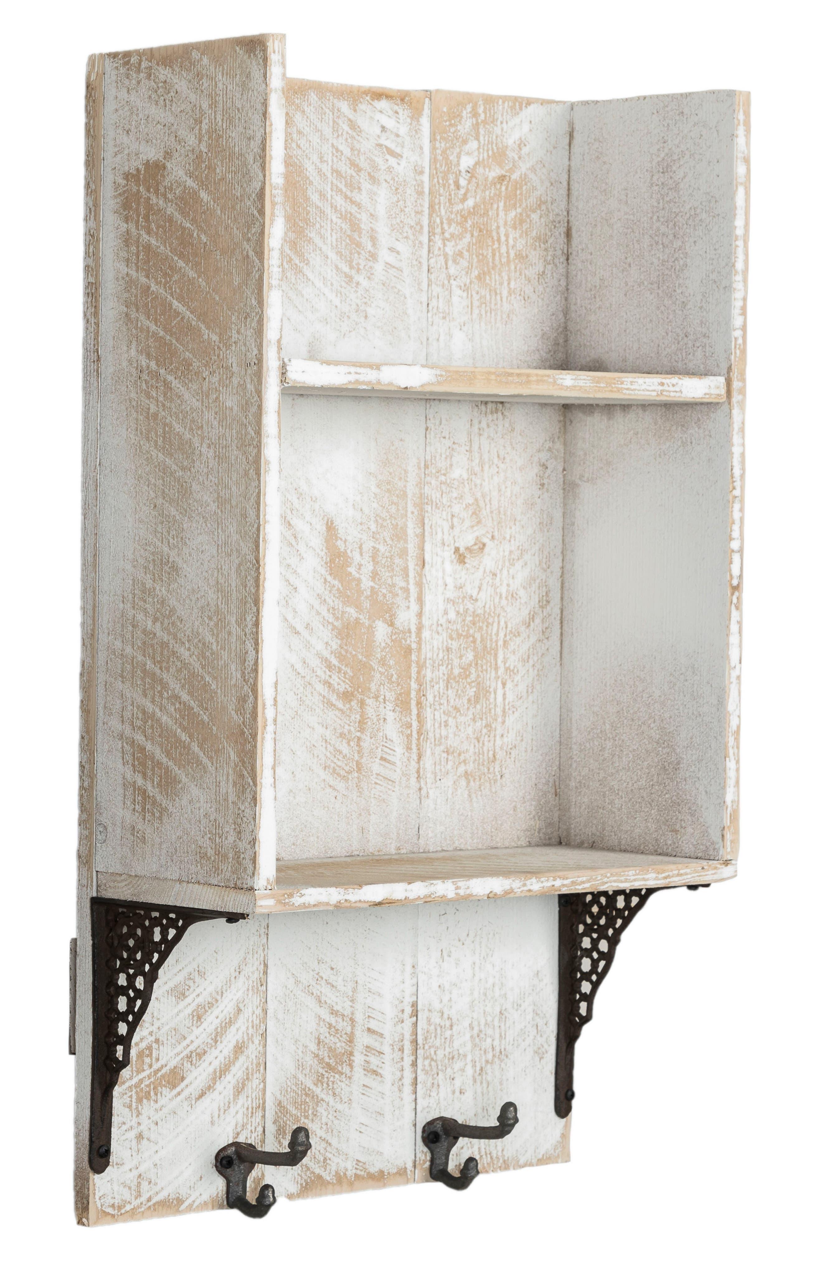 Reclaimed Wood Shelf with Hooks,                             Alternate thumbnail 2, color,                             100