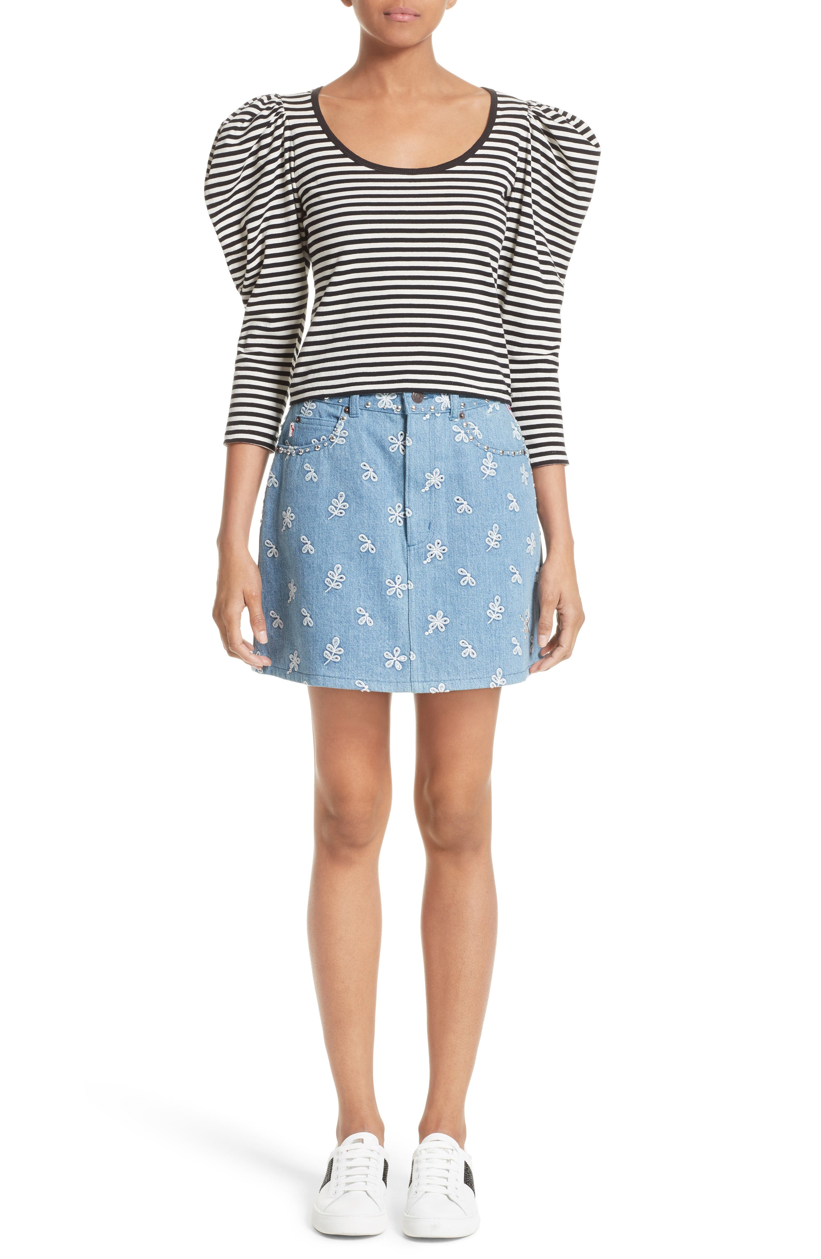 Stripe Cotton Puff Sleeve Top,                             Alternate thumbnail 6, color,                             002