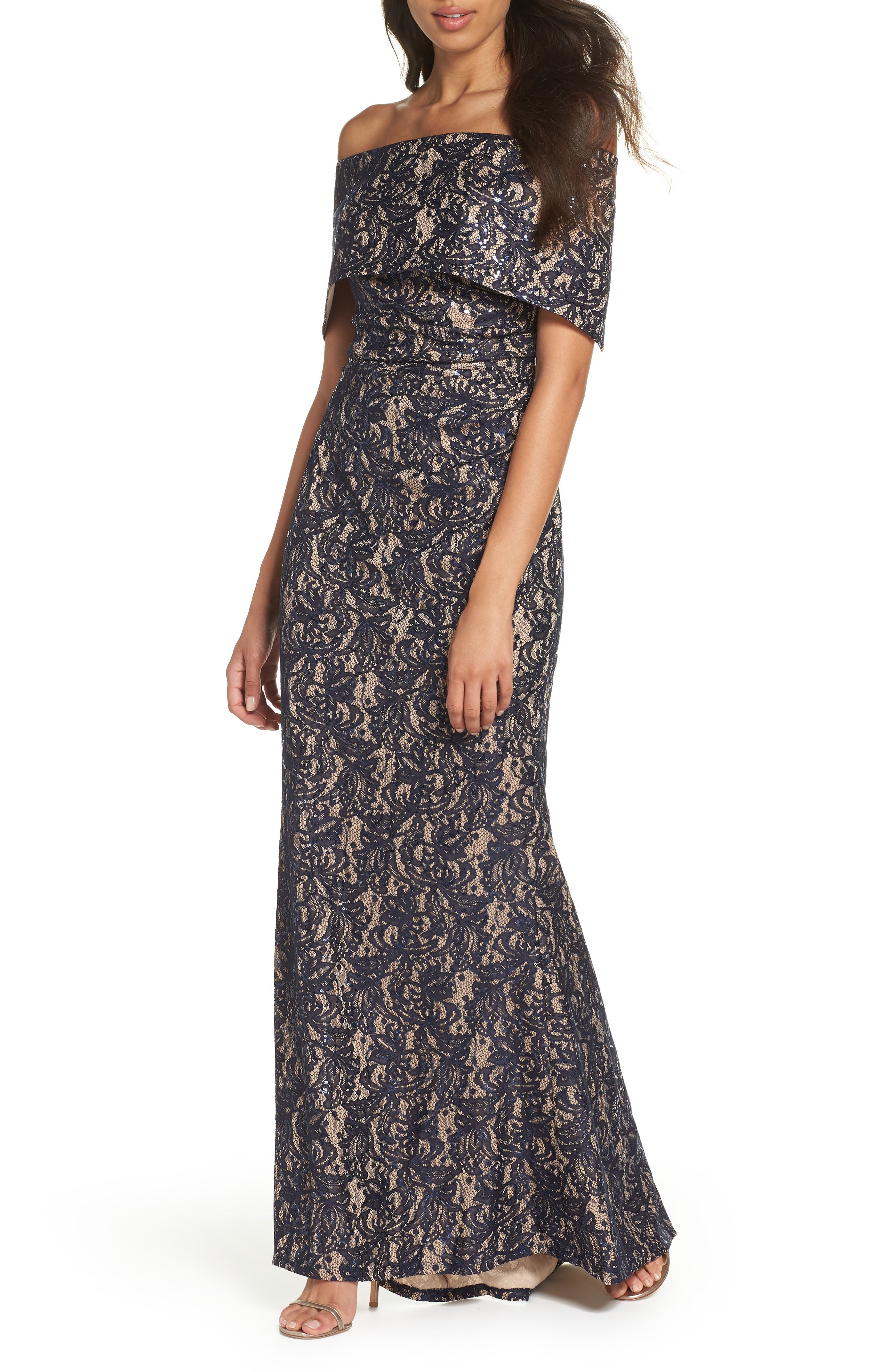 Vince Camuto Sequin Off The Shoulder Gown, Blue