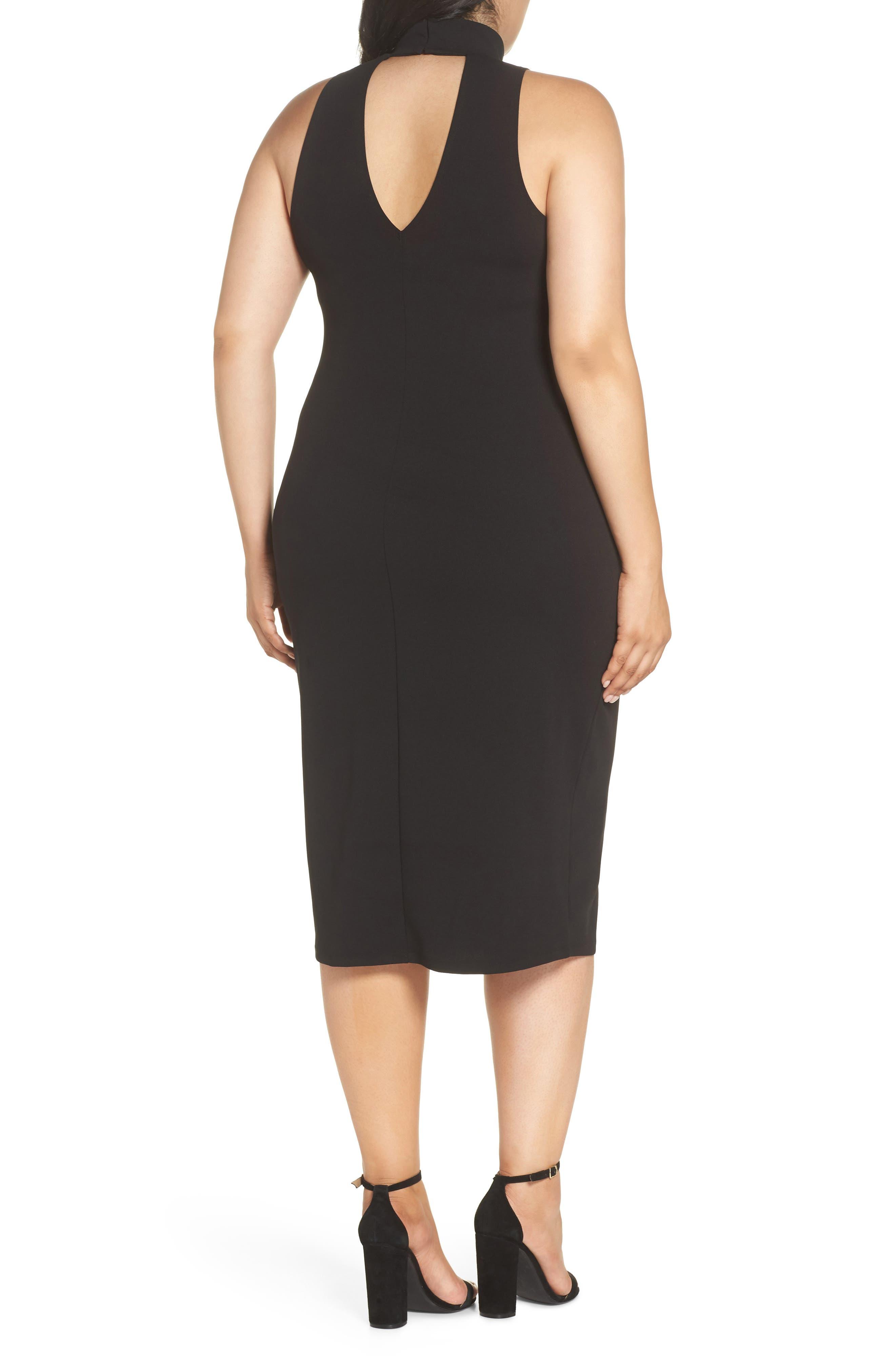Mock Neck Body-Con Dress,                             Alternate thumbnail 9, color,                             BLACK
