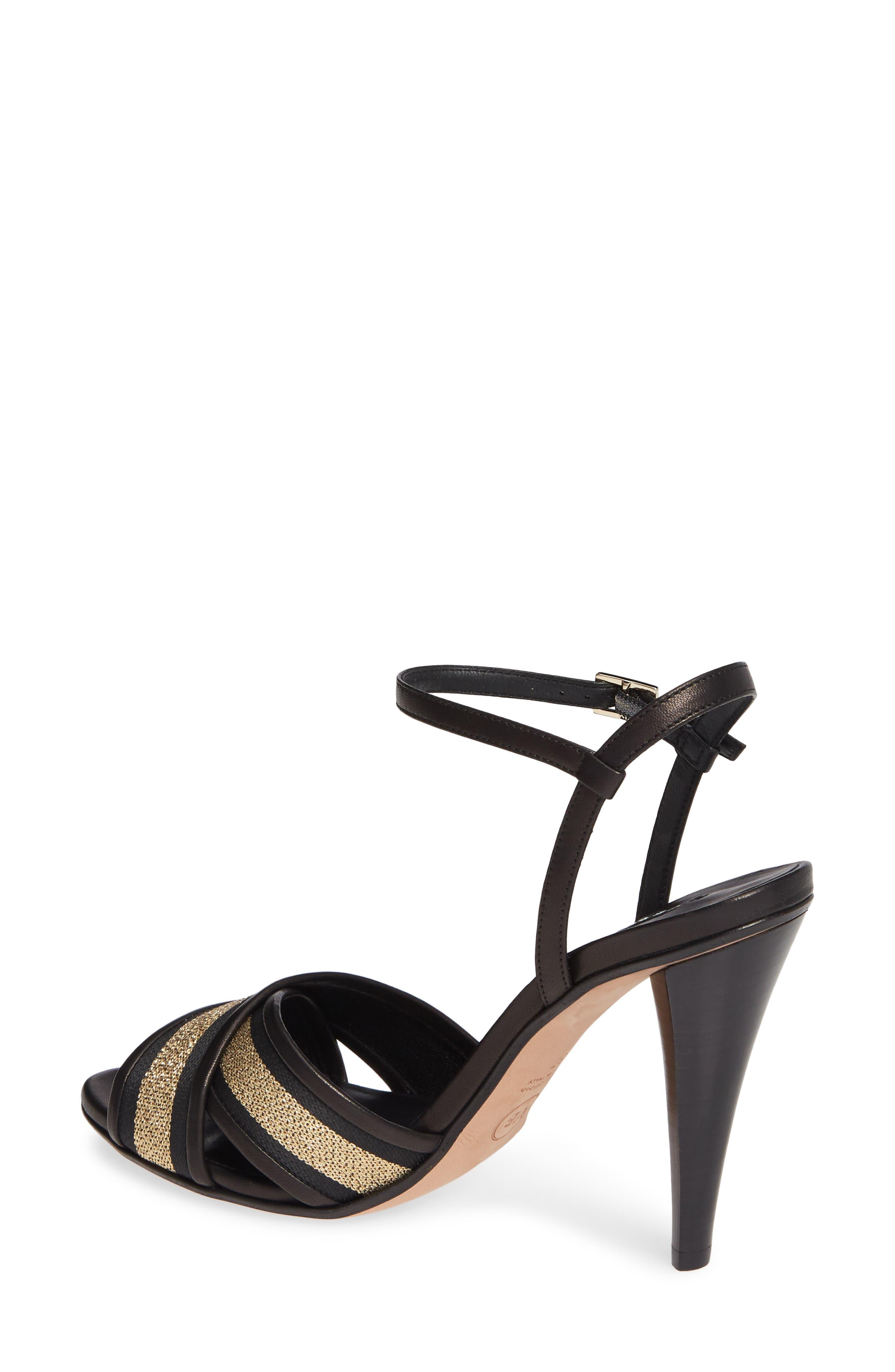 VERONICA BEARD,                             Olympia Quarter Strap Sandal,                             Alternate thumbnail 2, color,                             BLACK/ GOLD