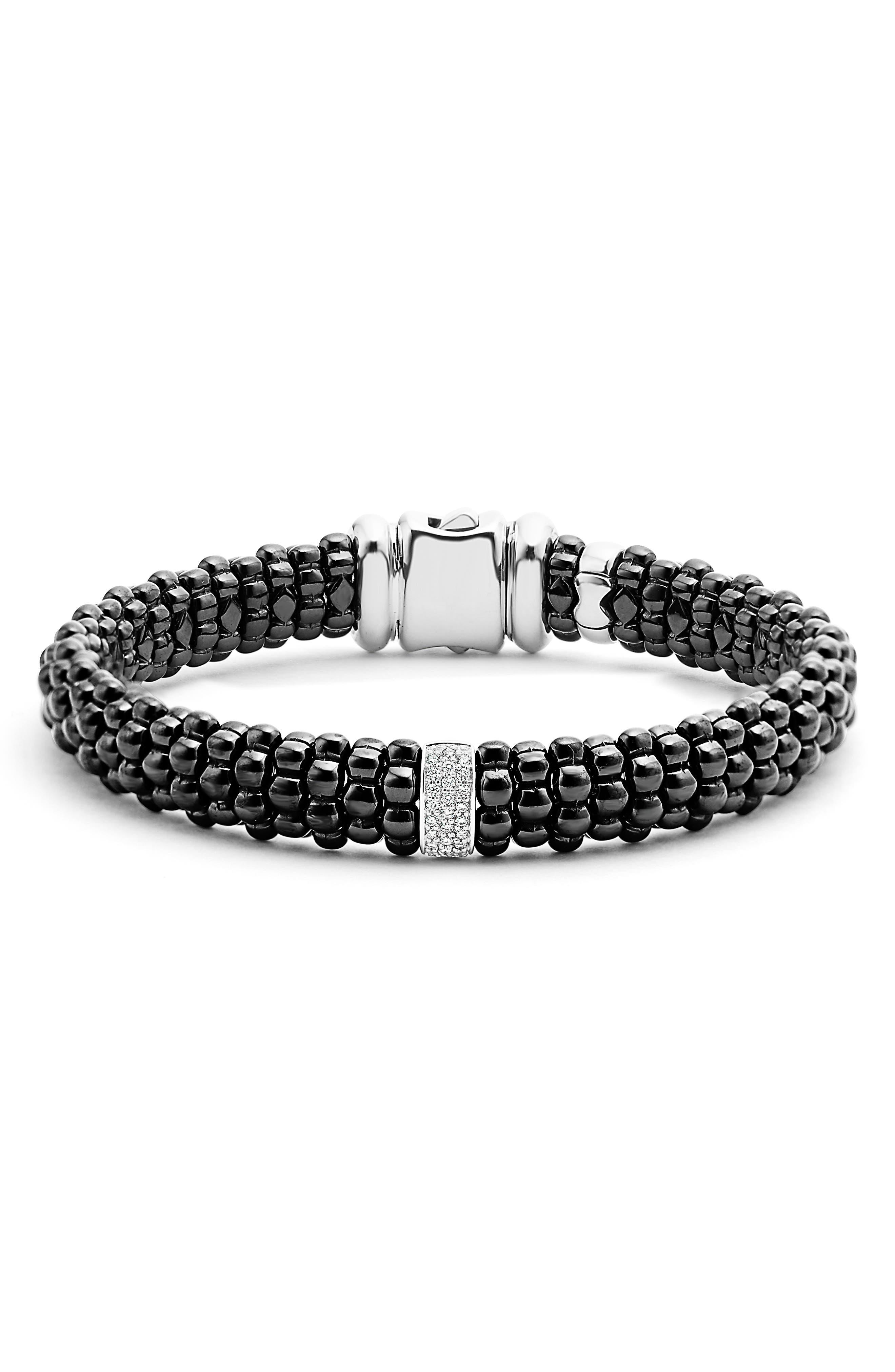Black Caviar Bracelet,                             Alternate thumbnail 2, color,                             BLACK/ SILVER