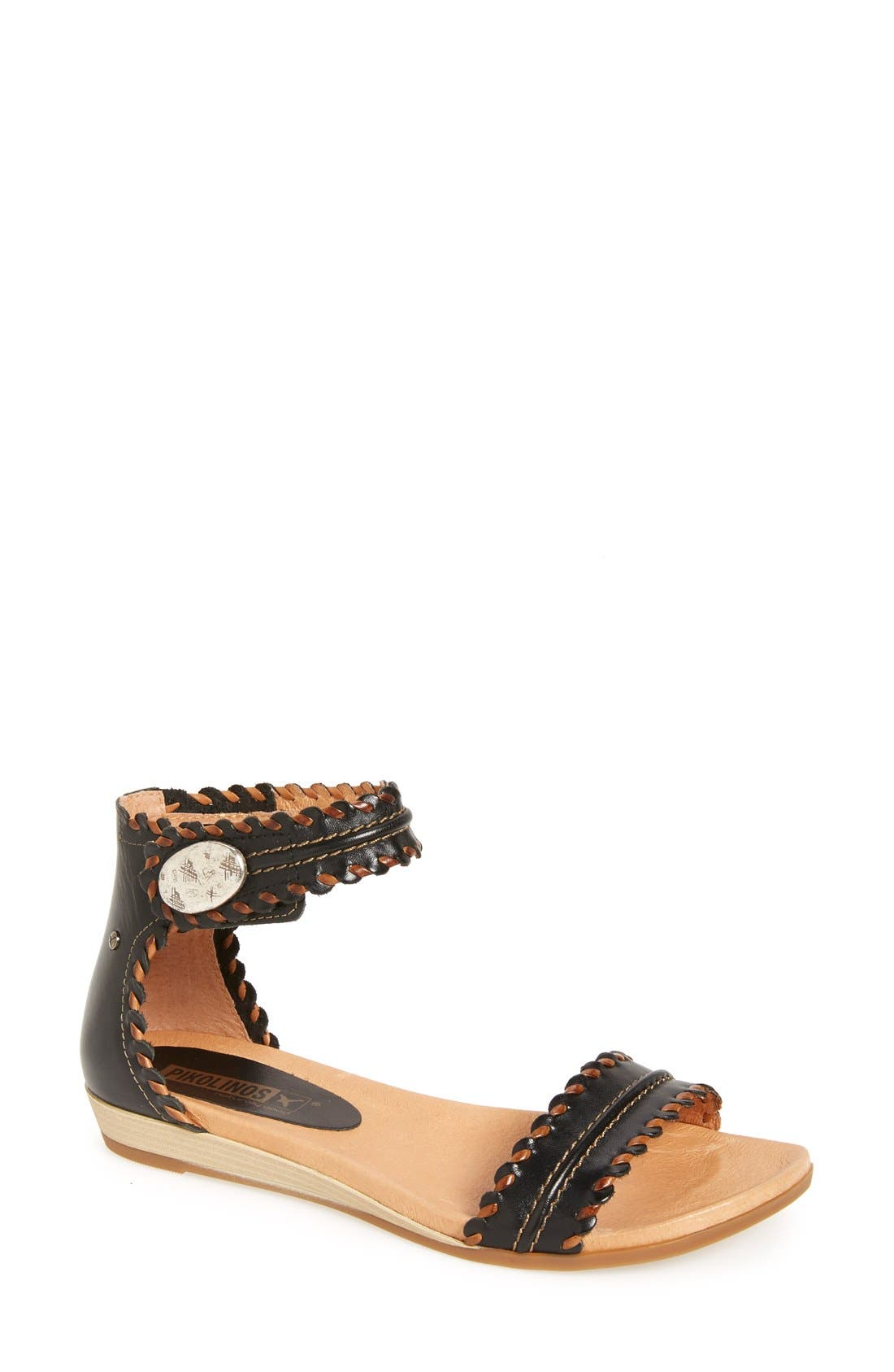 'Alcudia' Ankle Strap Sandal,                             Main thumbnail 1, color,                             001