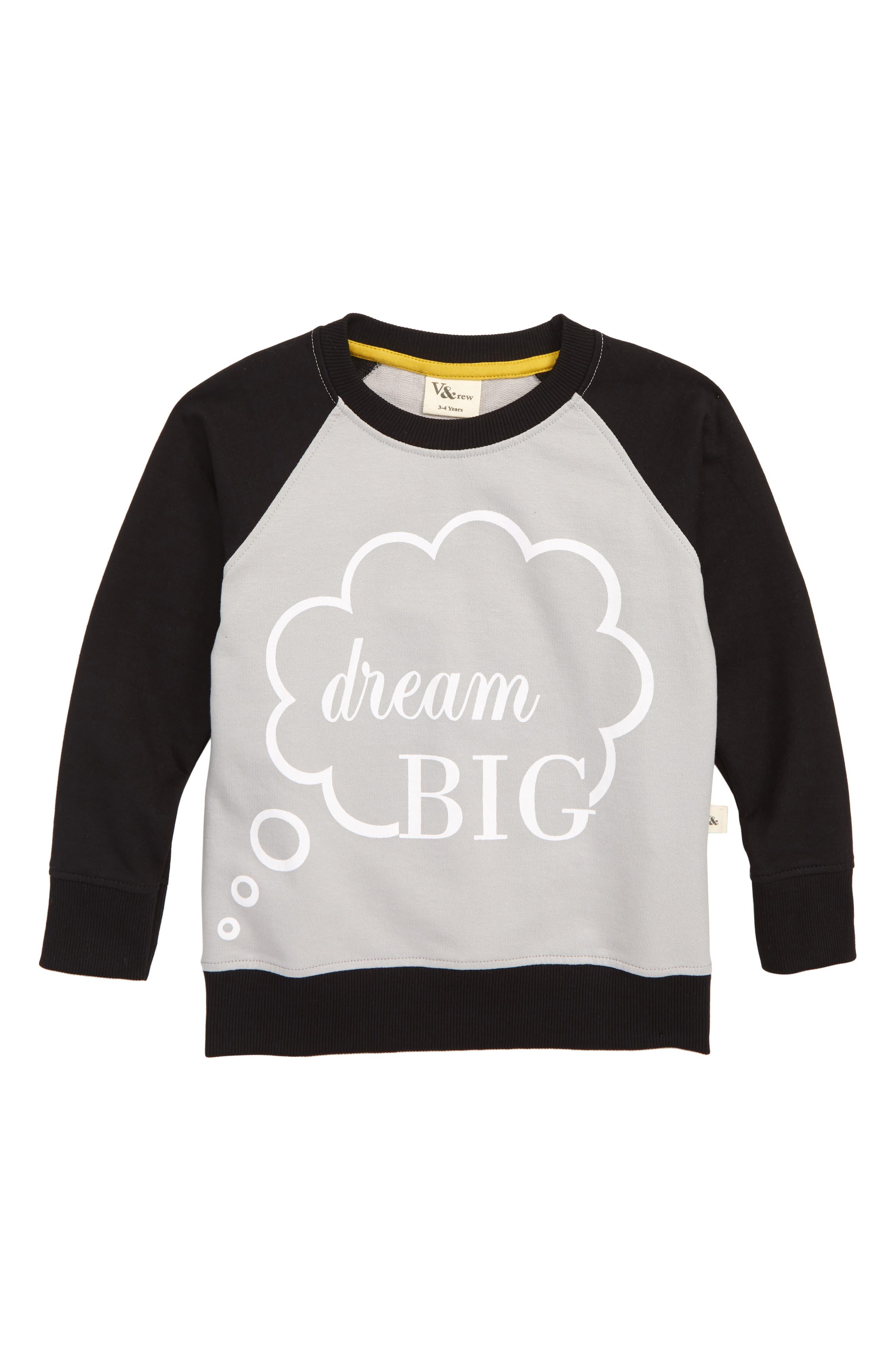 Boys Turtledove London Dream Big Raglan Sweatshirt