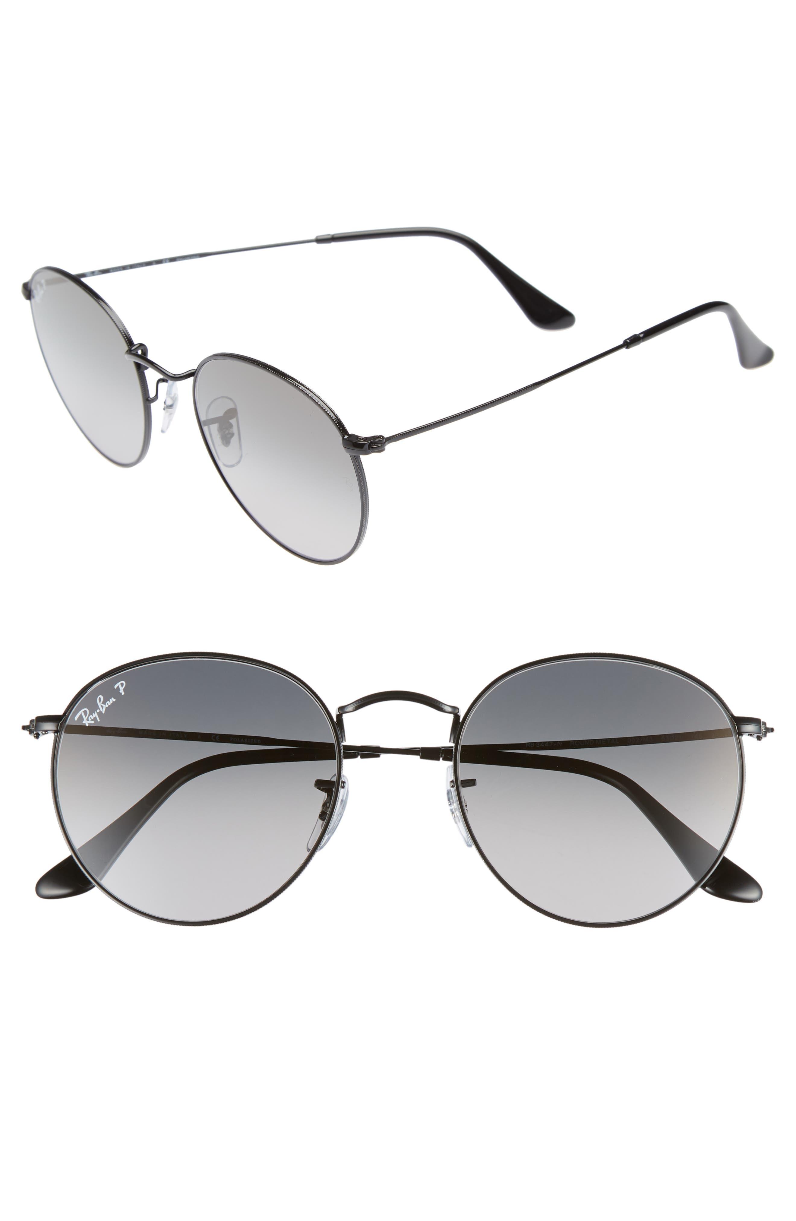 53mm Polarized Round Sunglasses,                         Main,                         color, BLACK / GREY