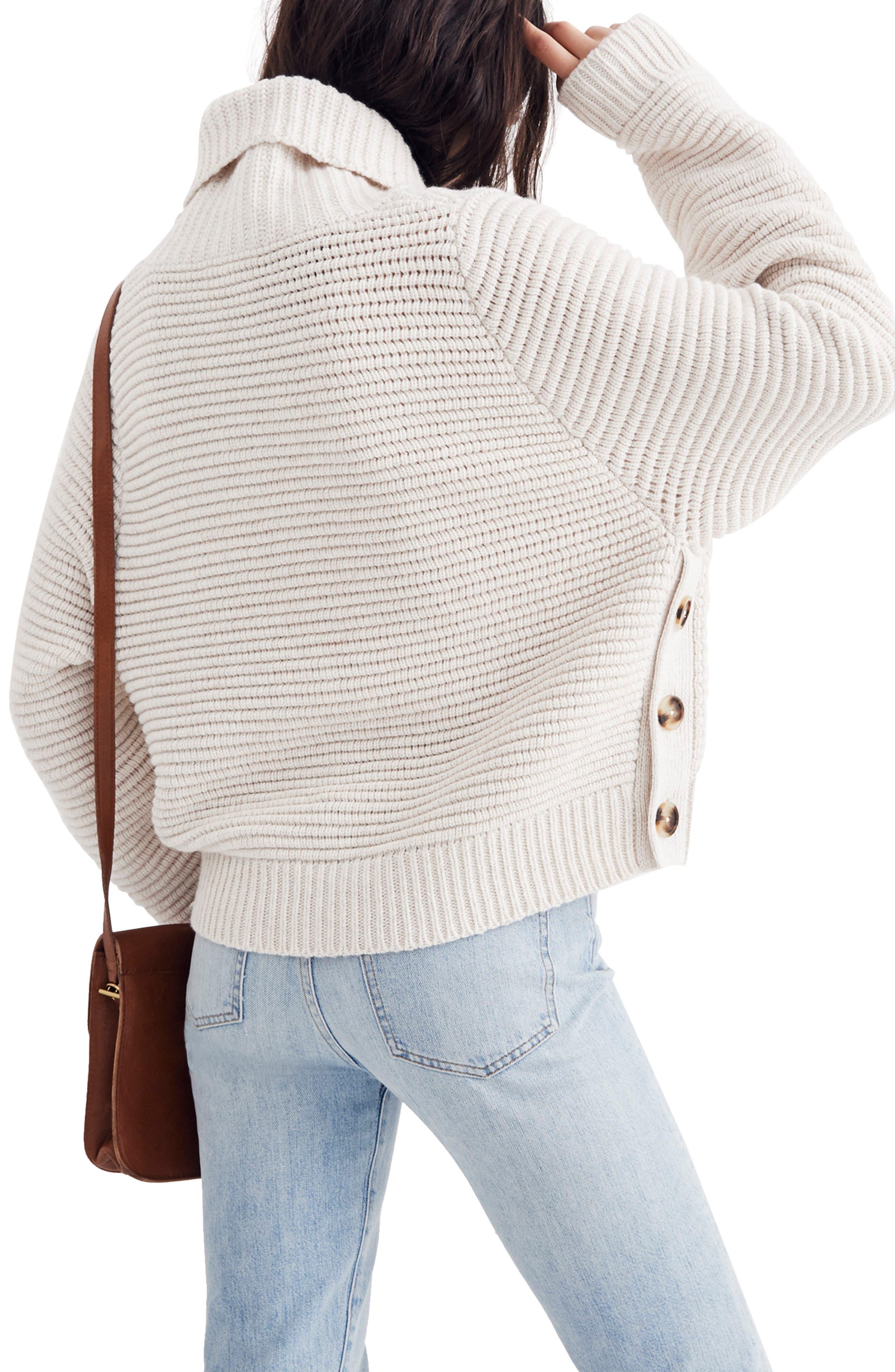 Side Button Turtleneck Sweater,                             Alternate thumbnail 2, color,                             HEATHER OAK