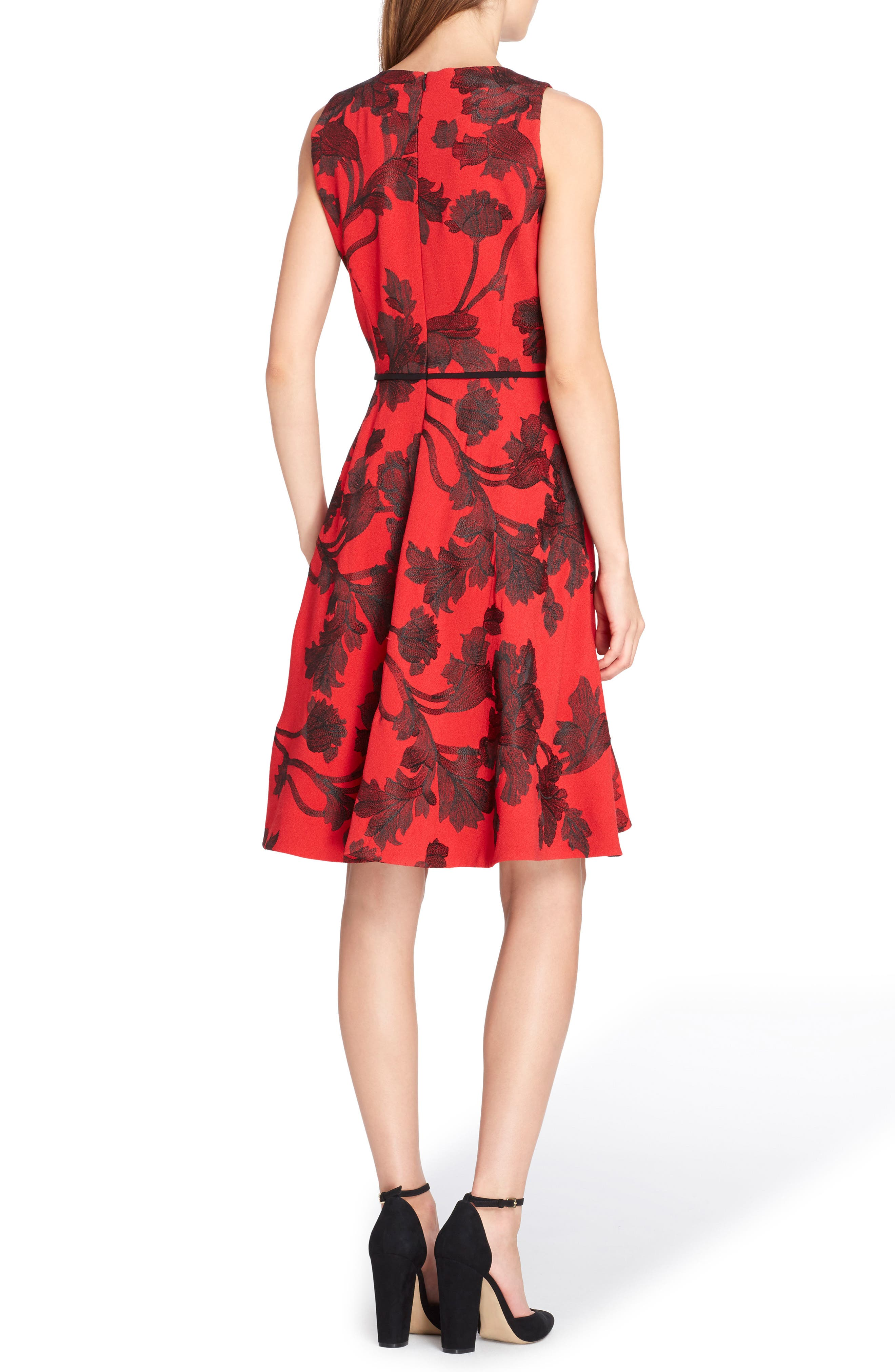 Floral Fit & Flare Dress,                             Alternate thumbnail 2, color,                             648