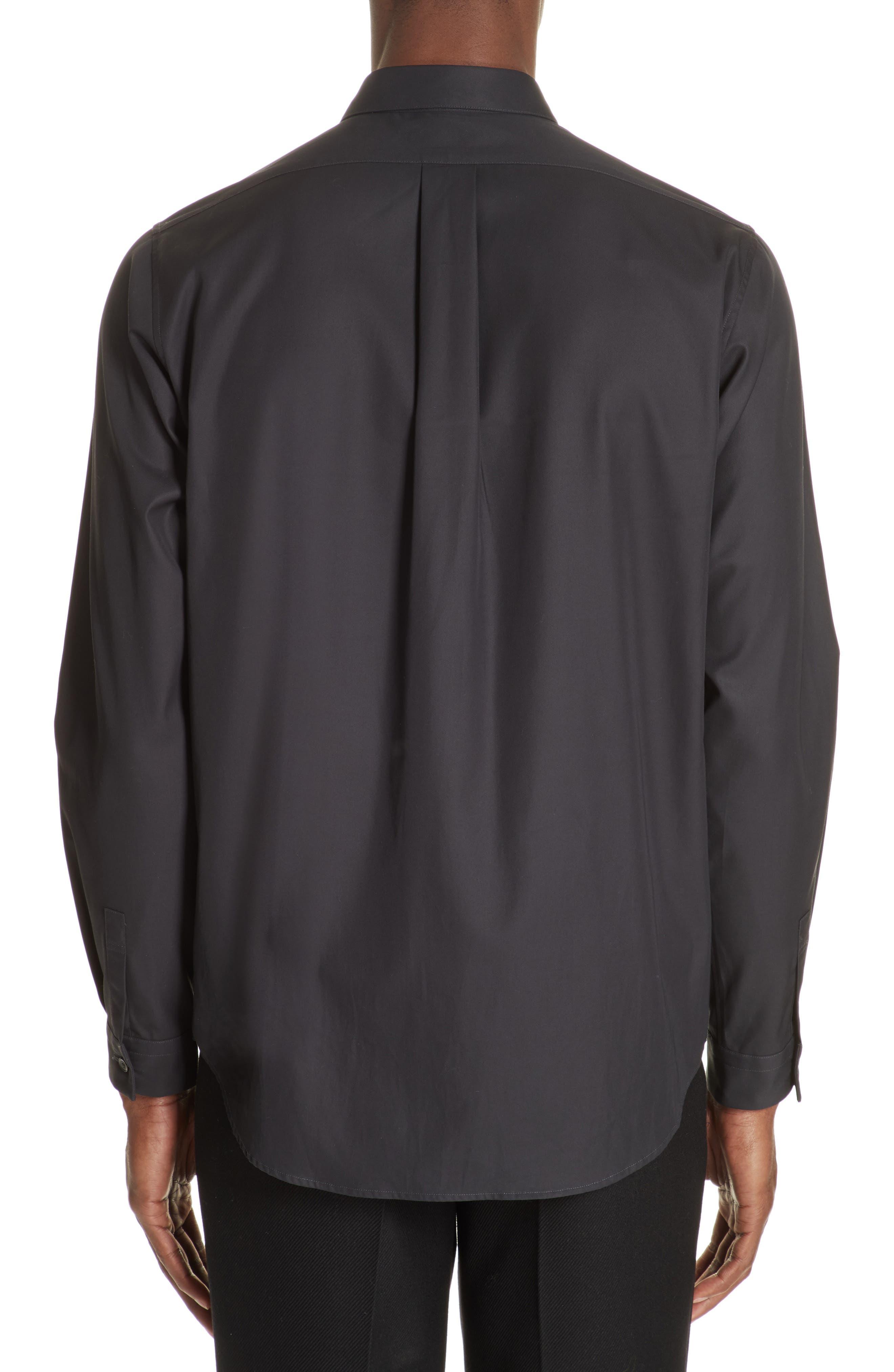 Gabardine Woven Shirt,                             Alternate thumbnail 3, color,                             NAVY