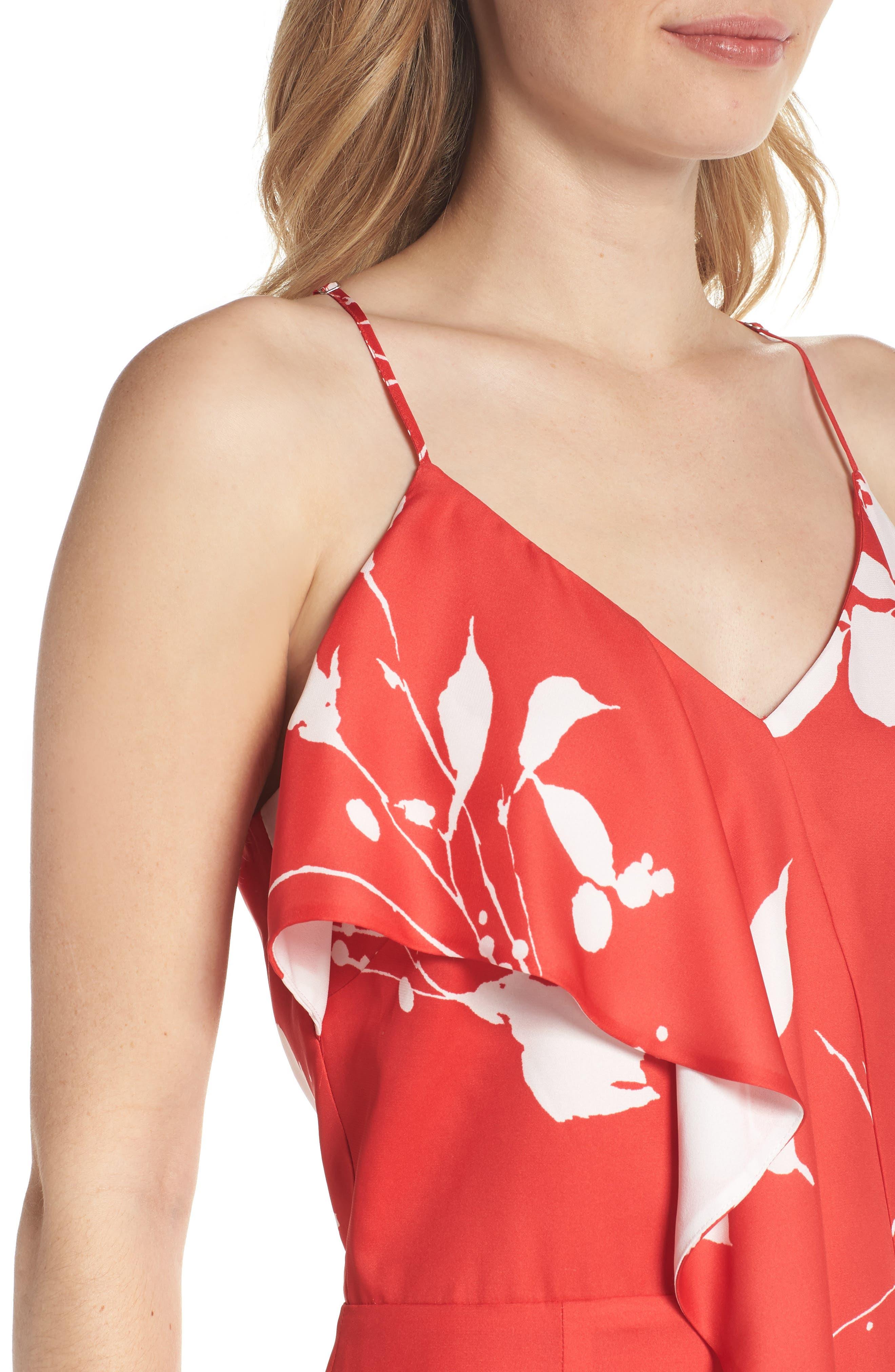 Floral Ruffle Front Sheath Dress,                             Alternate thumbnail 4, color,