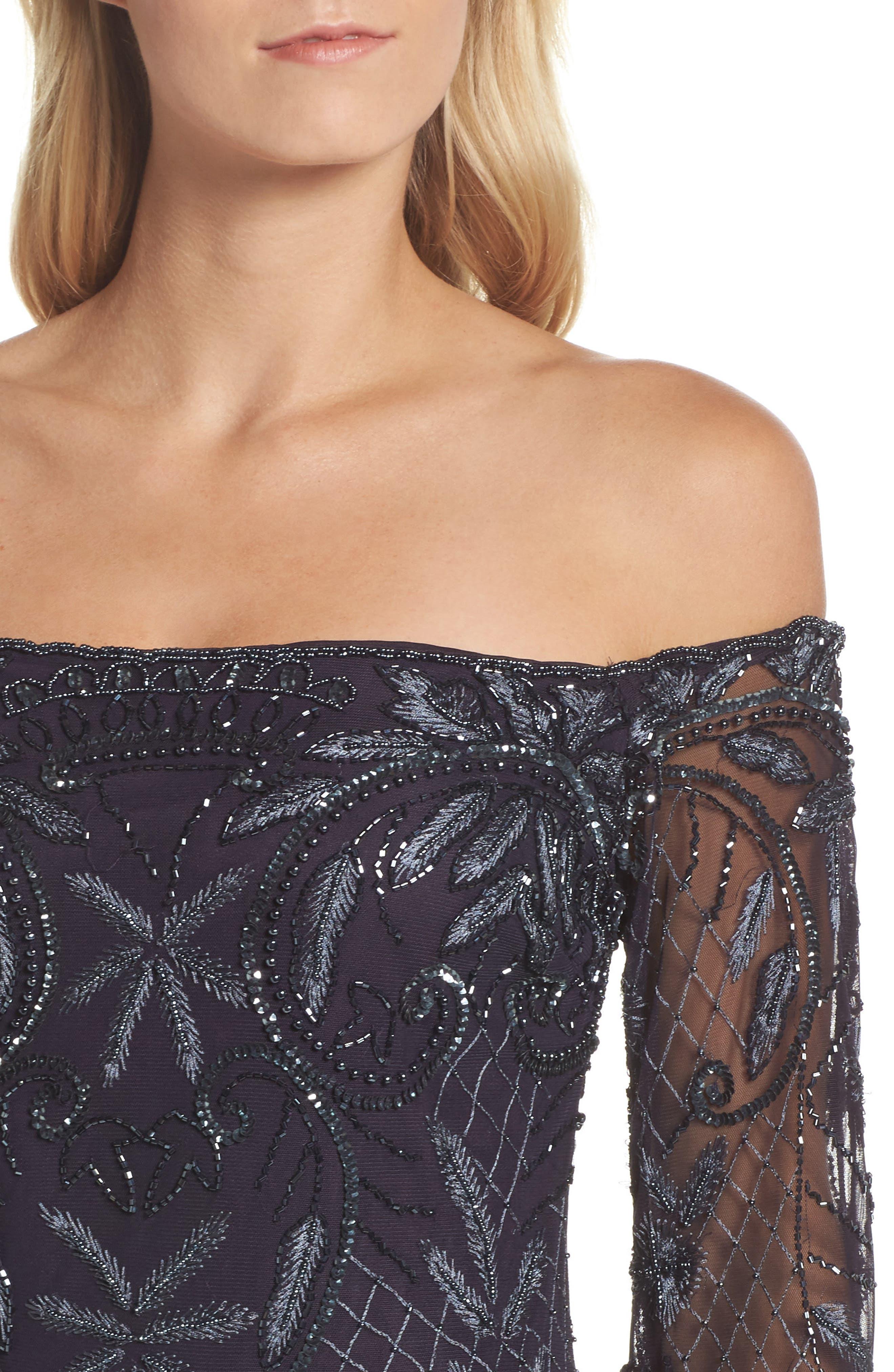 Embellished Off the Shoulder Column Gown,                             Alternate thumbnail 4, color,                             020