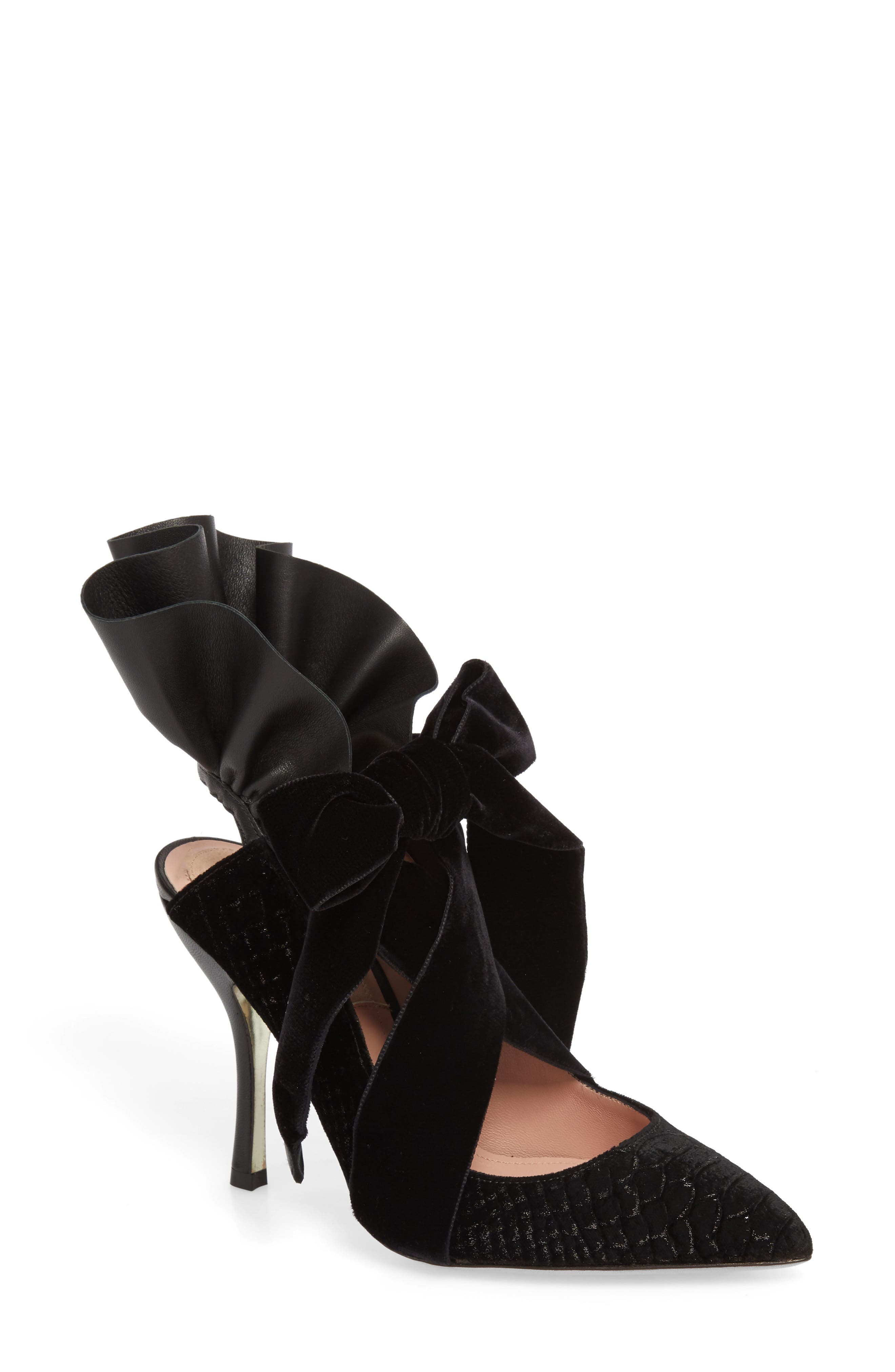 Frills Cobra Pump,                             Main thumbnail 1, color,                             BLACK