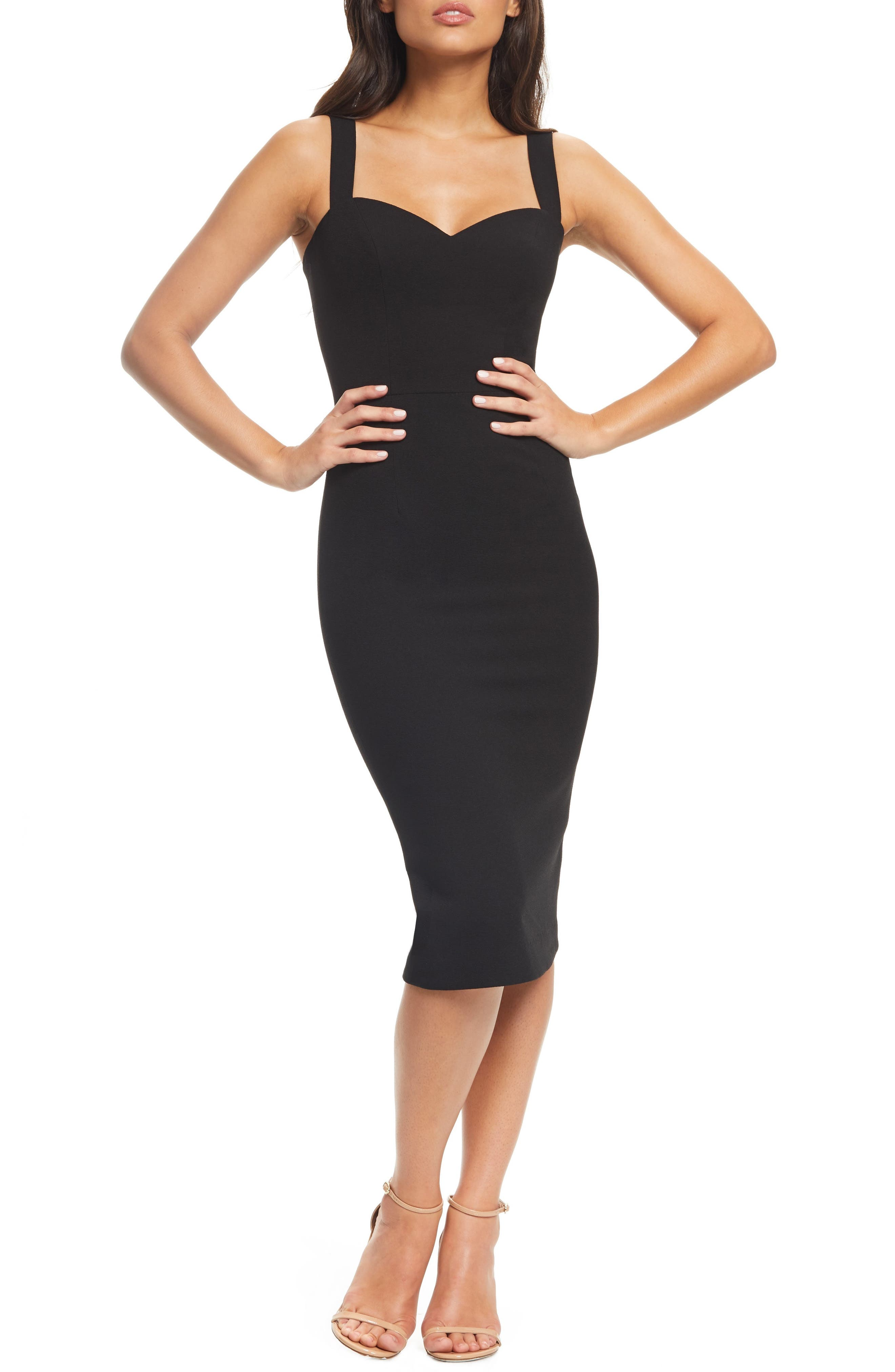 DRESS THE POPULATION Nicole Sweetheart Neck Cocktail Dress, Main, color, BLACK