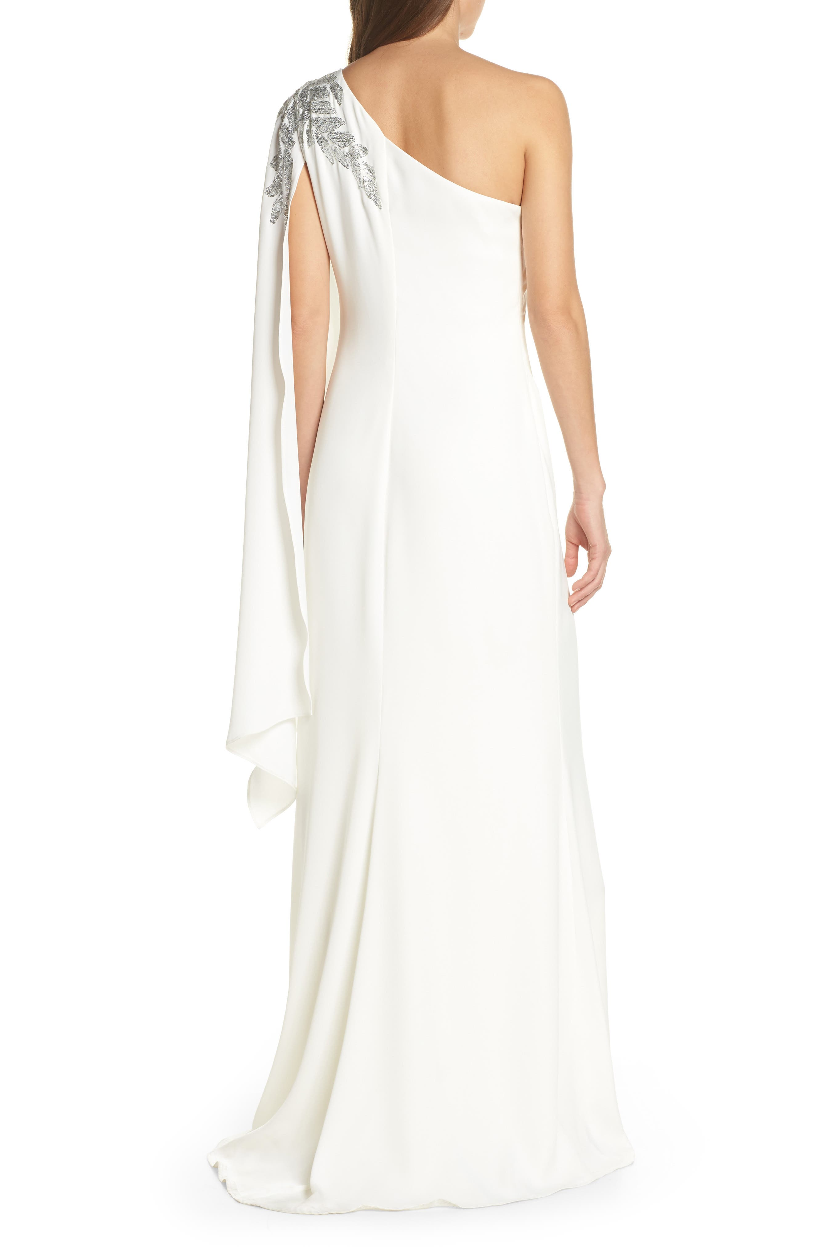 TADASHI SHOJI,                             Cape Sleeve Crepe Evening Dress,                             Alternate thumbnail 2, color,                             IVORY/ SILVER