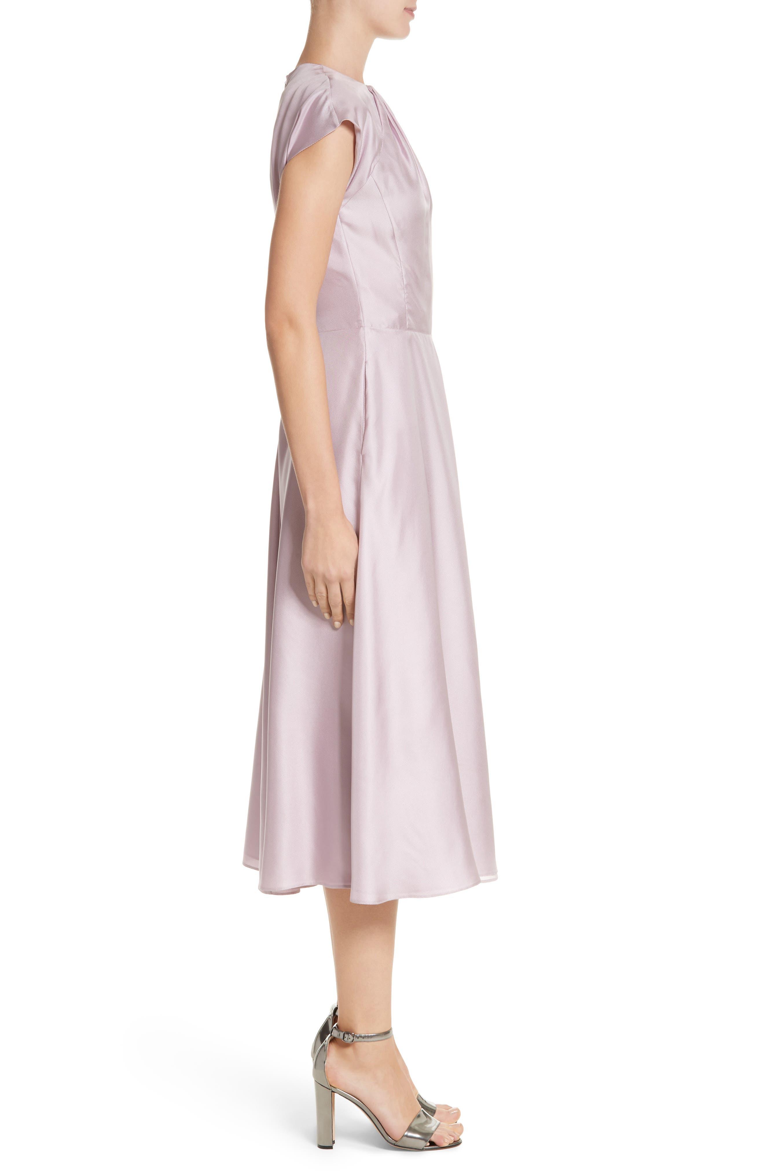 Gather Neck Silk A-Line Dress,                             Alternate thumbnail 3, color,                             664