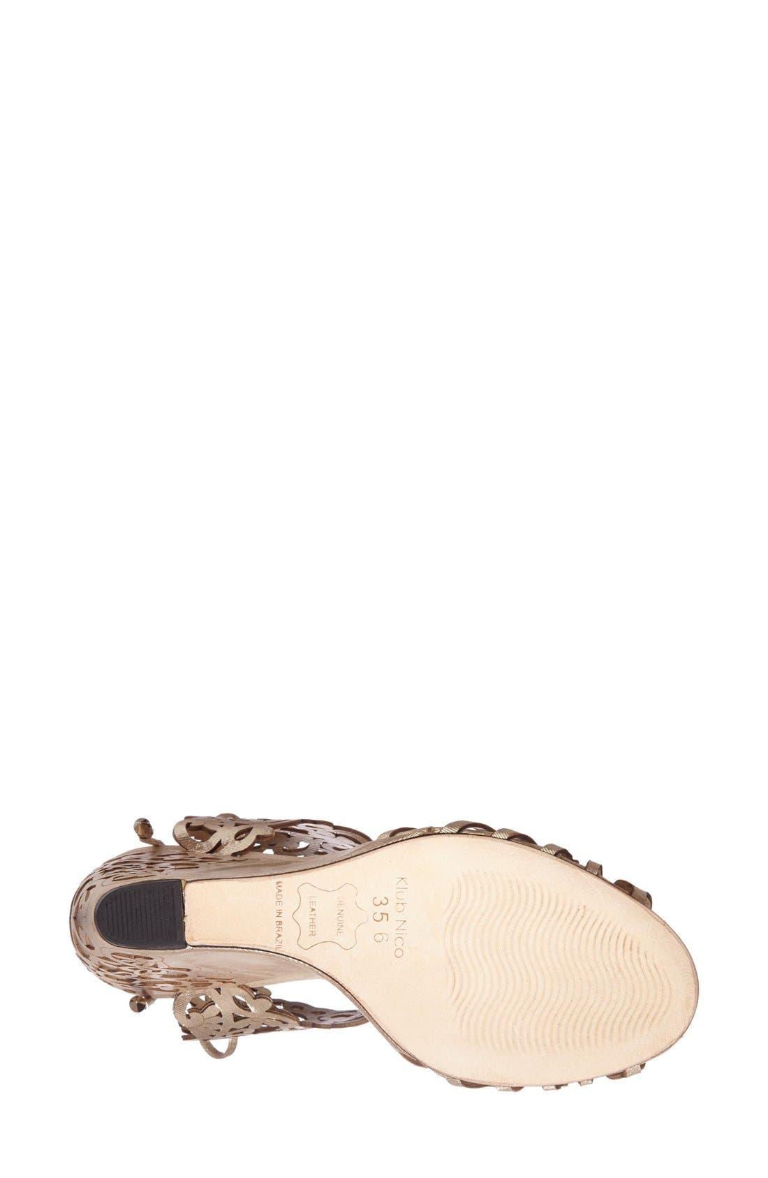 'Moxie' Laser Cutout Wedge Sandal,                             Alternate thumbnail 4, color,                             CHAMPAGNE GLOSS