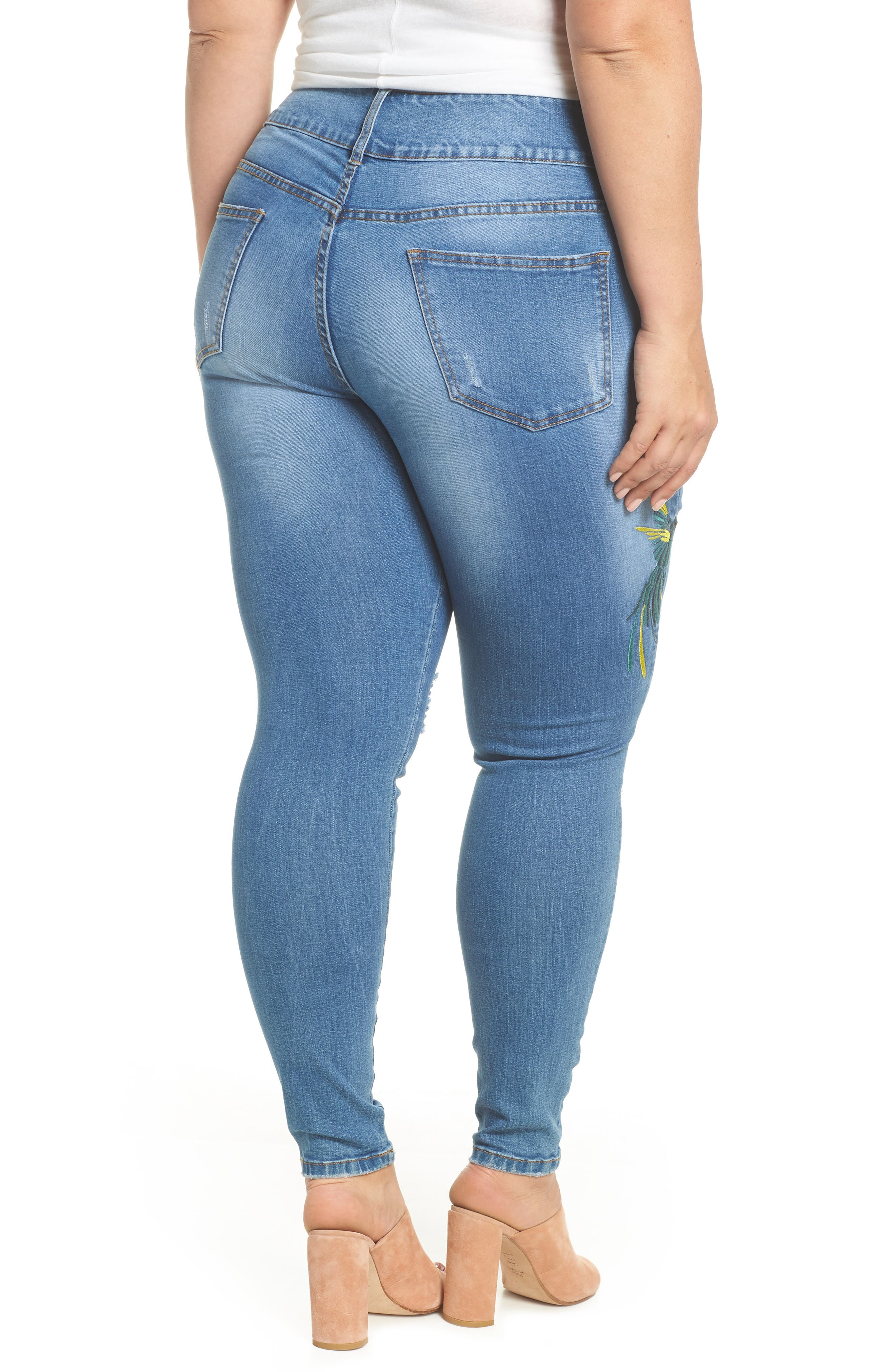 Summer Paradise Embroidered Stretch Skinny Jeans,                             Alternate thumbnail 2, color,                             LIGHT DENIM