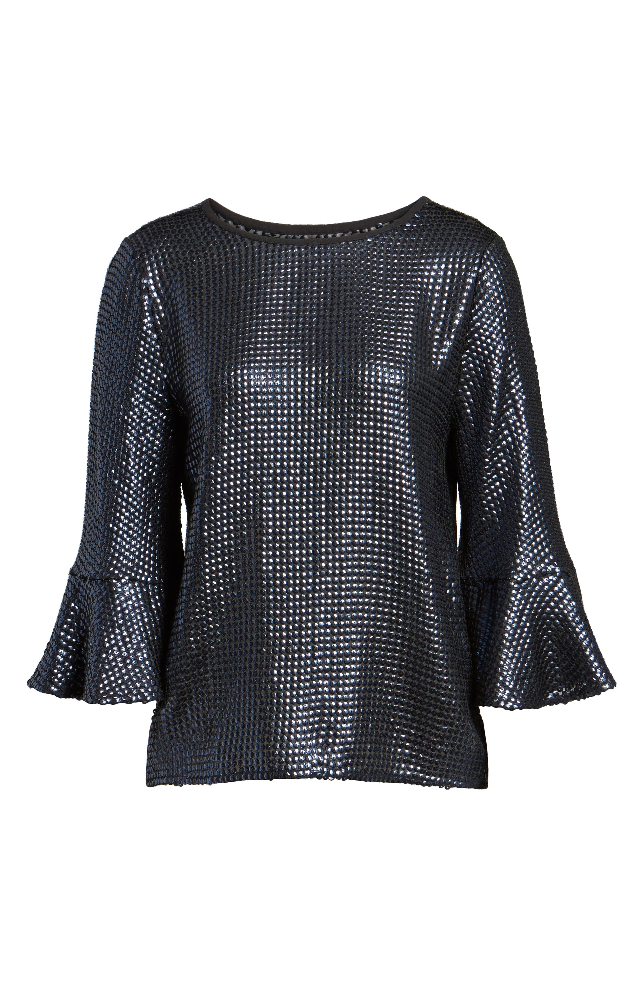 Sequin Bell Sleeve Top,                             Alternate thumbnail 6, color,                             410