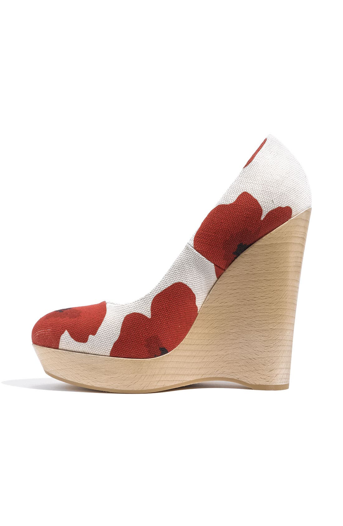 Poppy Print Wedge Pump,                             Alternate thumbnail 3, color,                             600