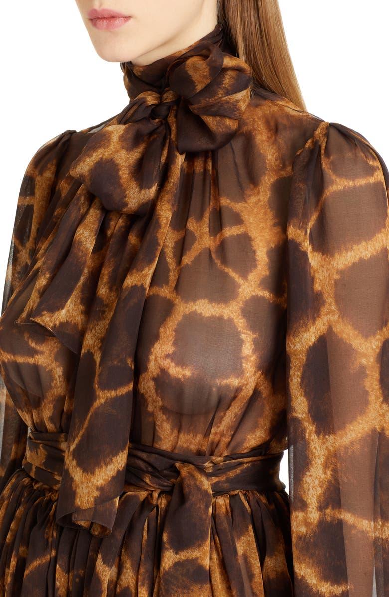 524b9e8d6a Shop Dolce   Gabbana Giraffe Print Silk Dress In Brown