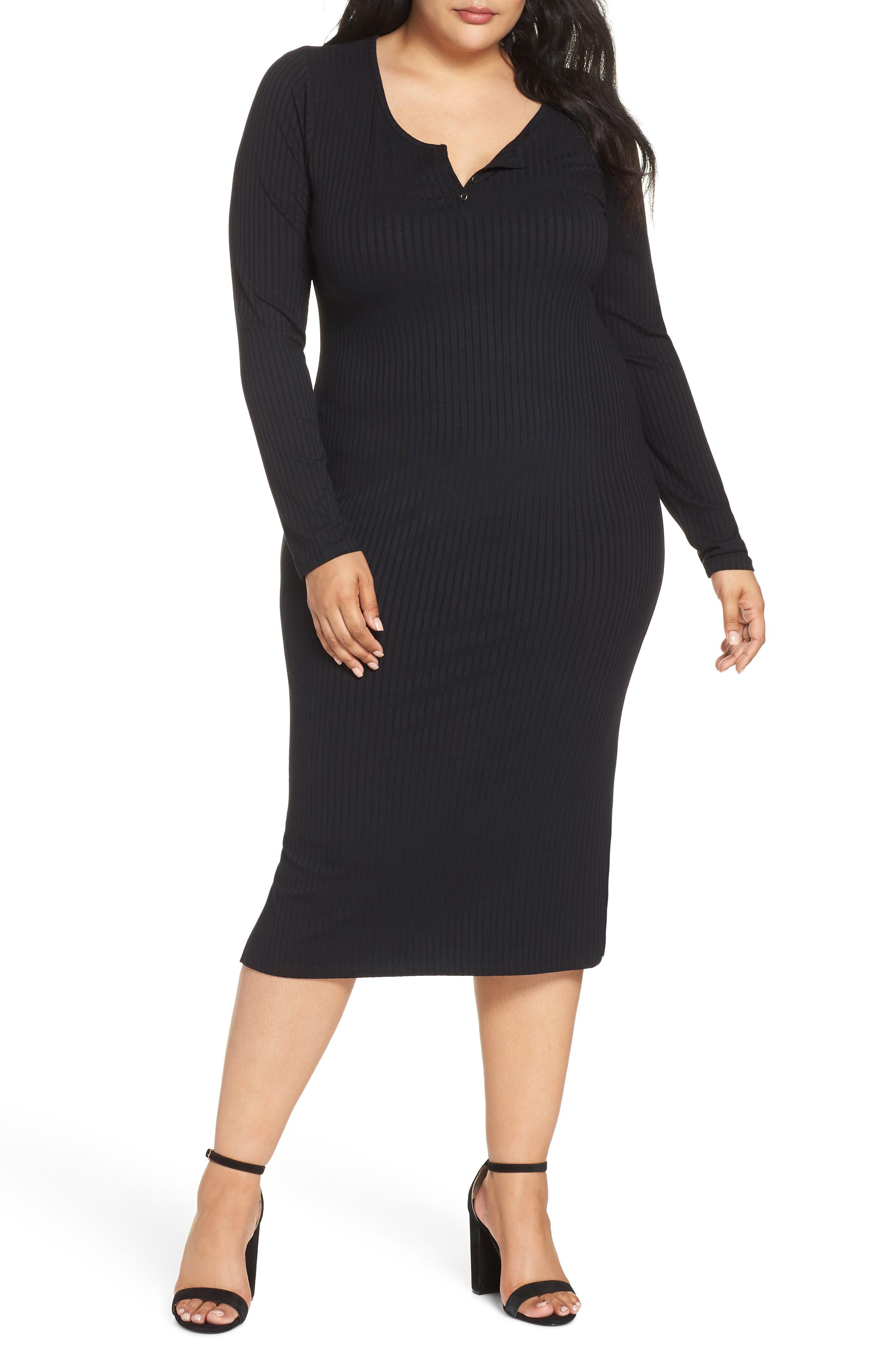 Ribbed Henley Midi Dress,                         Main,                         color, BLACK