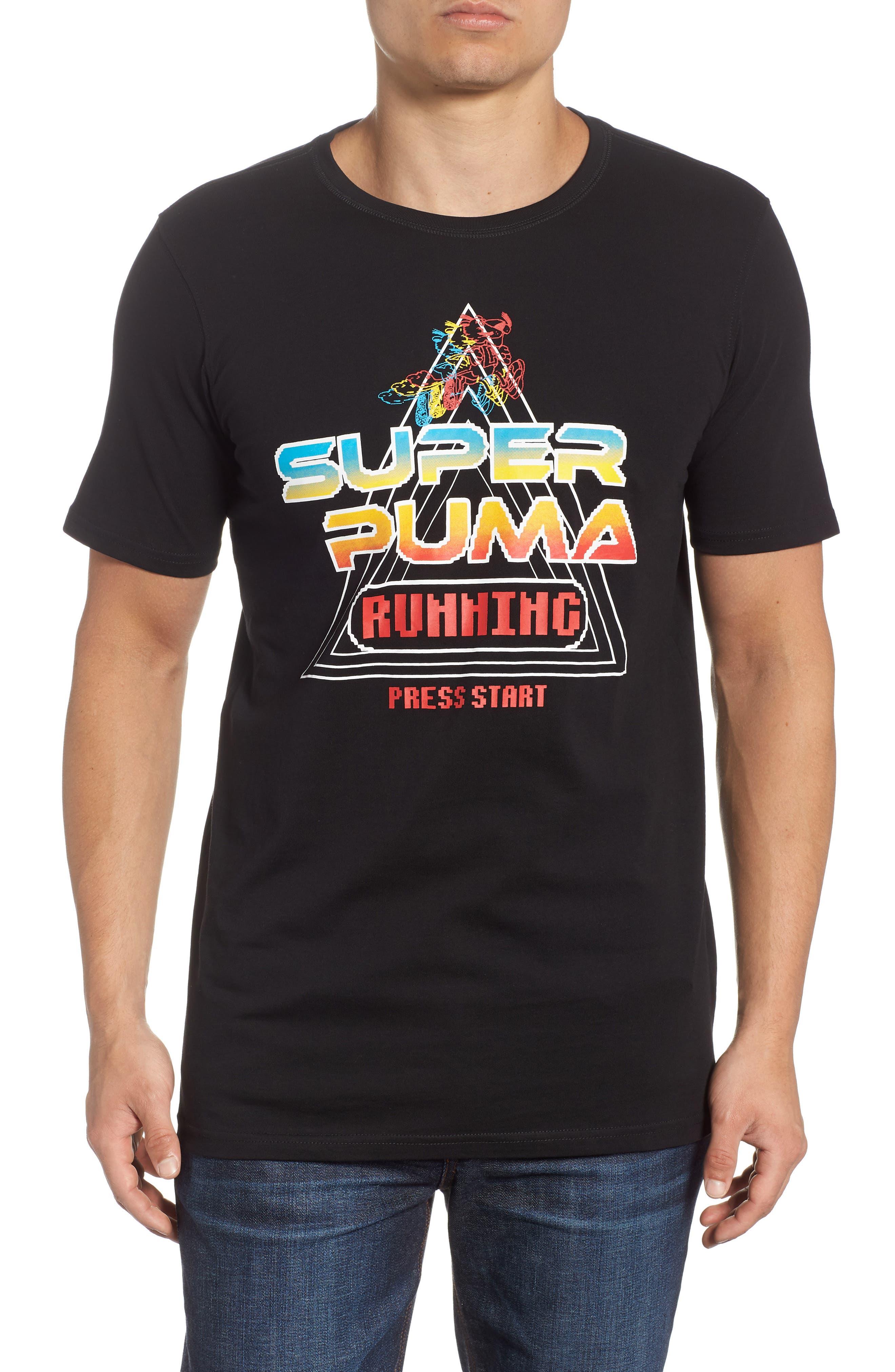 Super PUMA Allover Graphic Regular Fit T-Shirt,                         Main,                         color, COTTON BLACK
