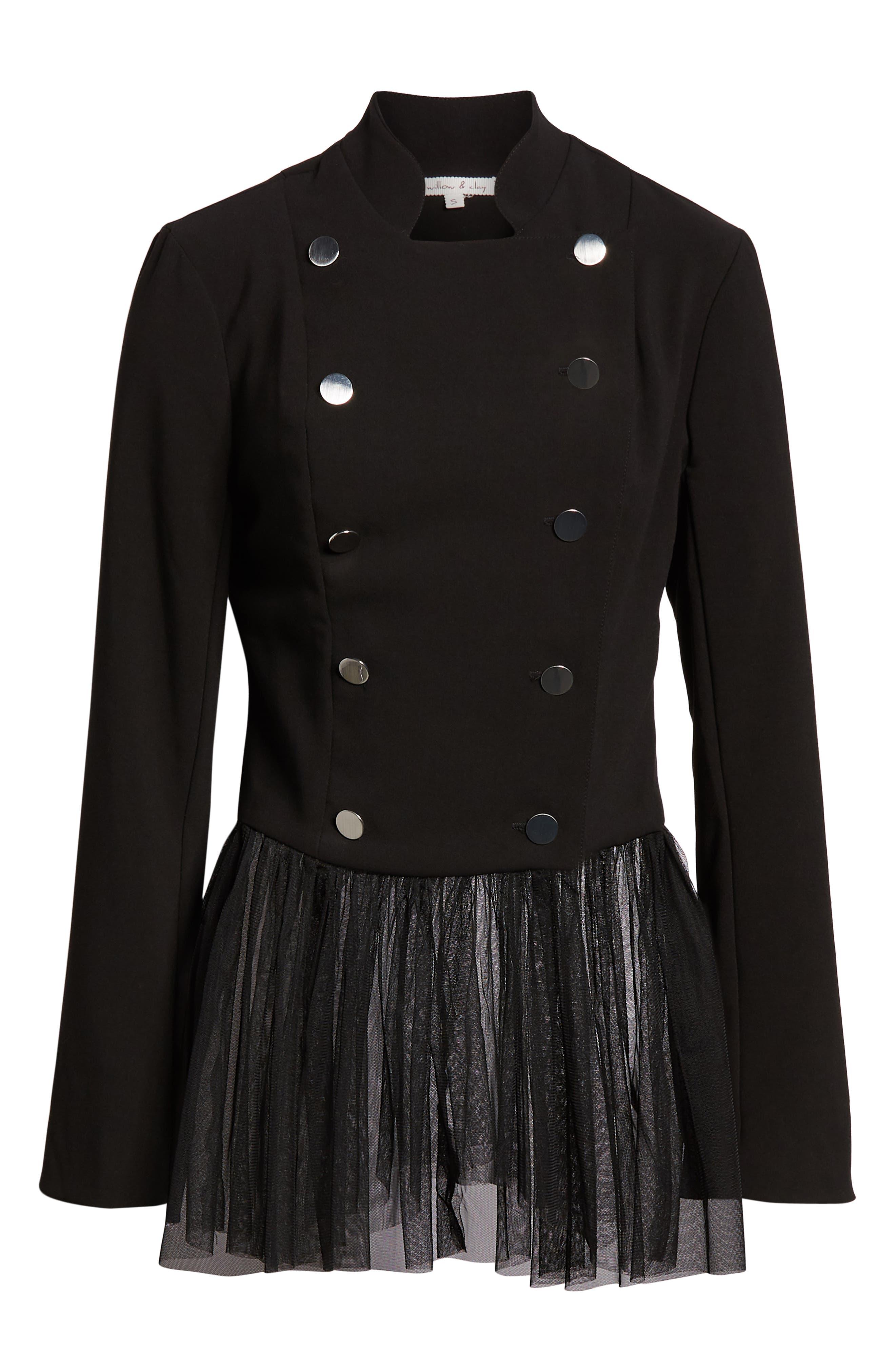 Tulle Trim Lace-Up Back Jacket,                             Alternate thumbnail 3, color,                             BLACK