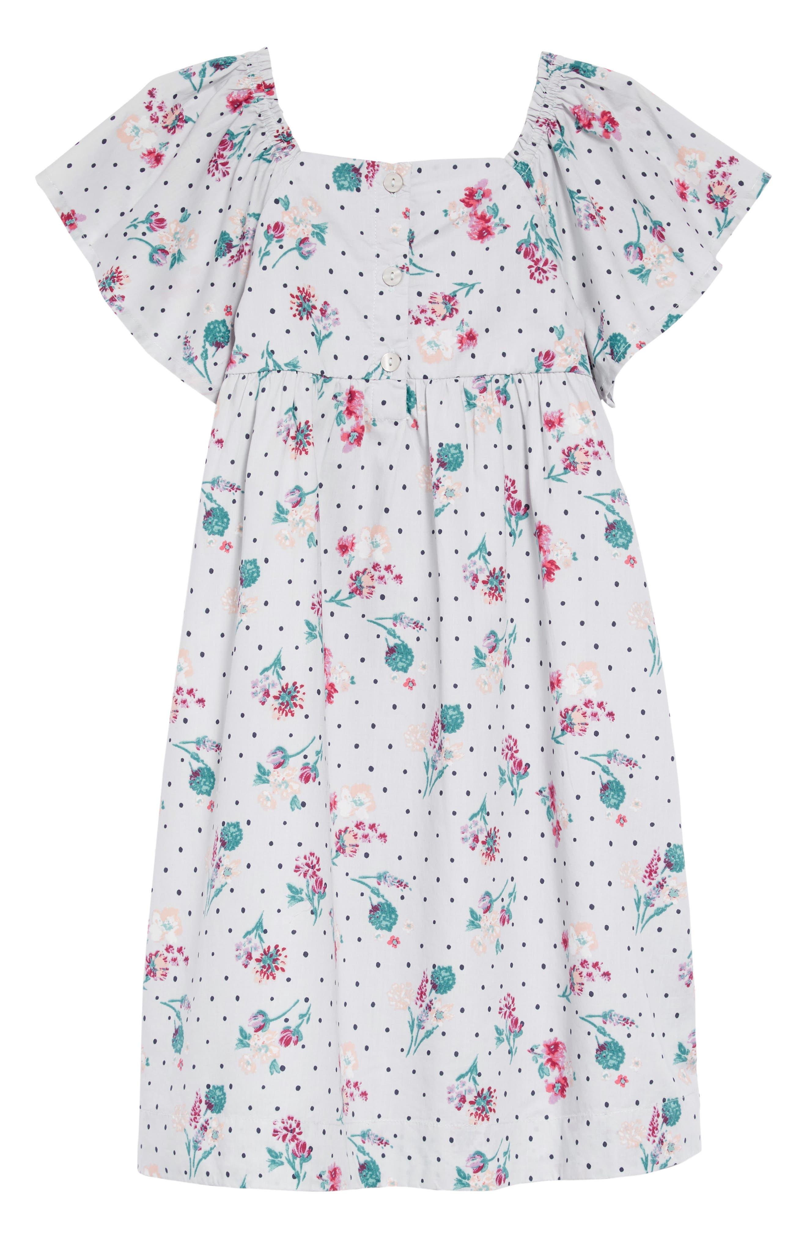 Floral Smock Dress,                             Alternate thumbnail 2, color,                             GREY VIOLET BOTANICAL GARDEN