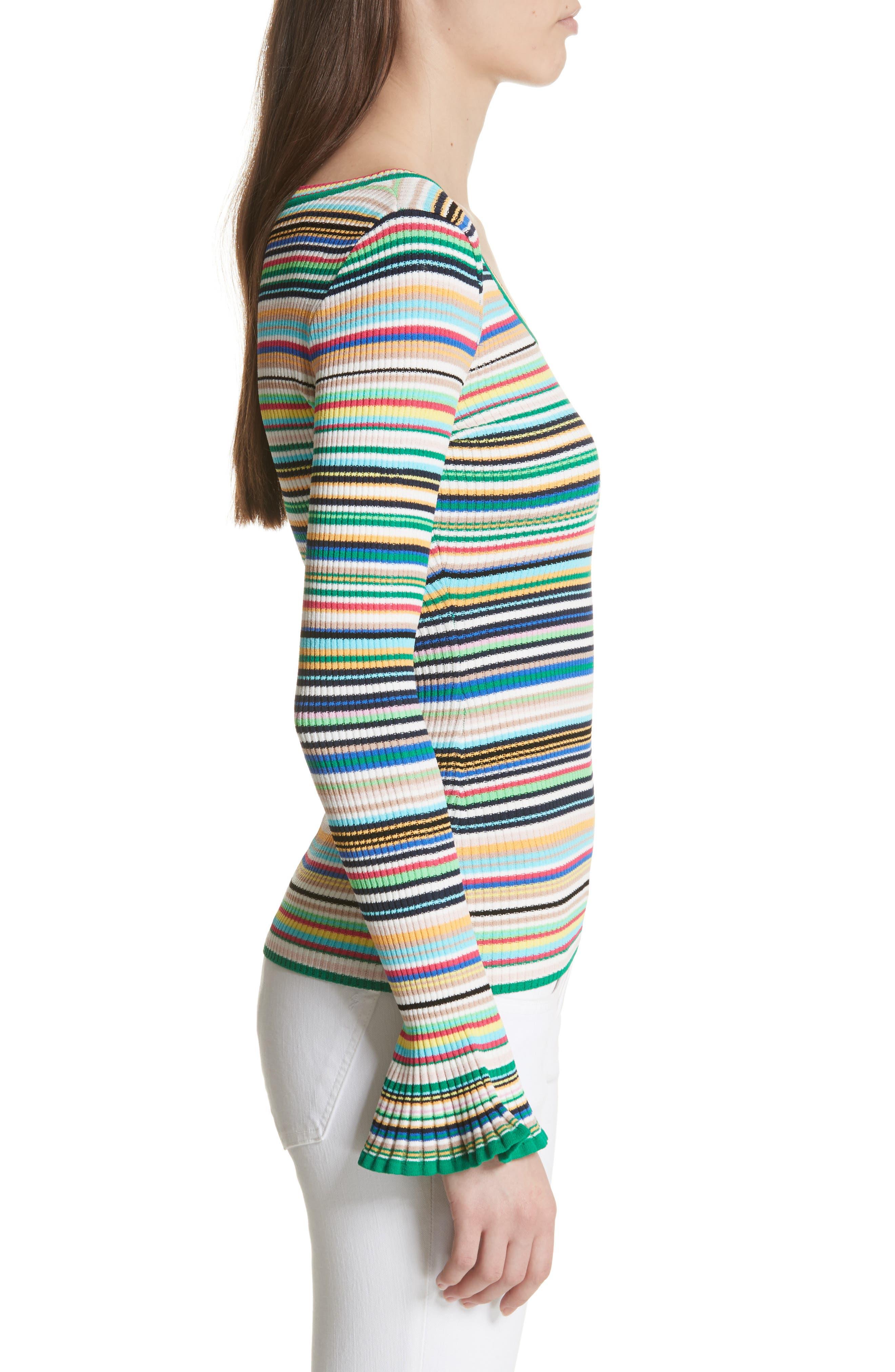 Microstripe Flare Sleeve Pullover,                             Alternate thumbnail 3, color,                             167