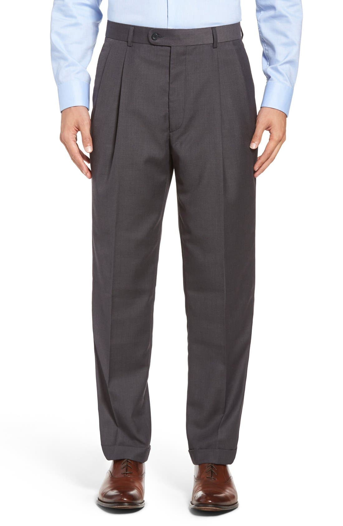 Pleated Microfiber Dress Pants,                             Main thumbnail 2, color,