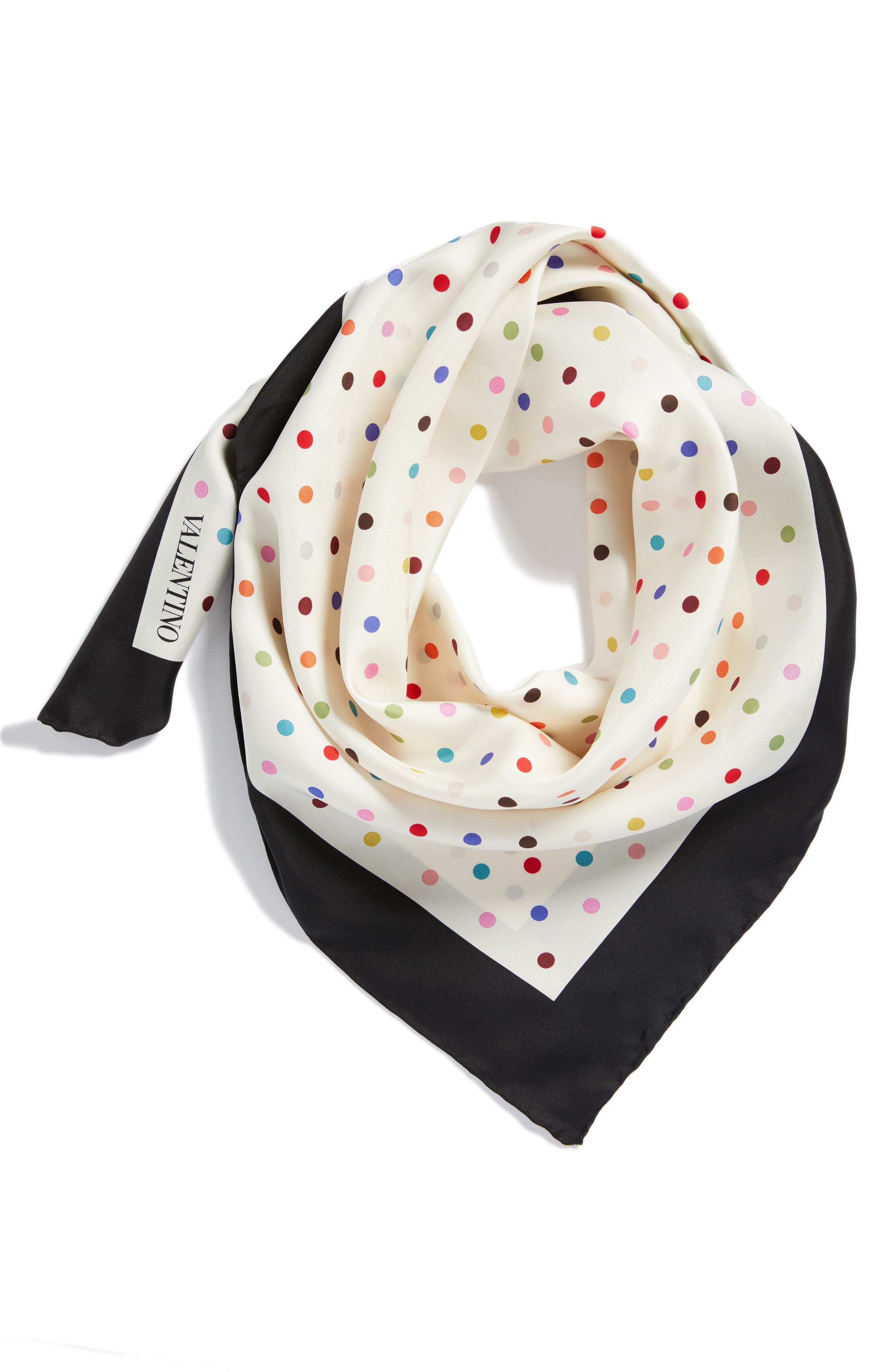 Rainbow Dots Silk Scarf,                             Alternate thumbnail 5, color,