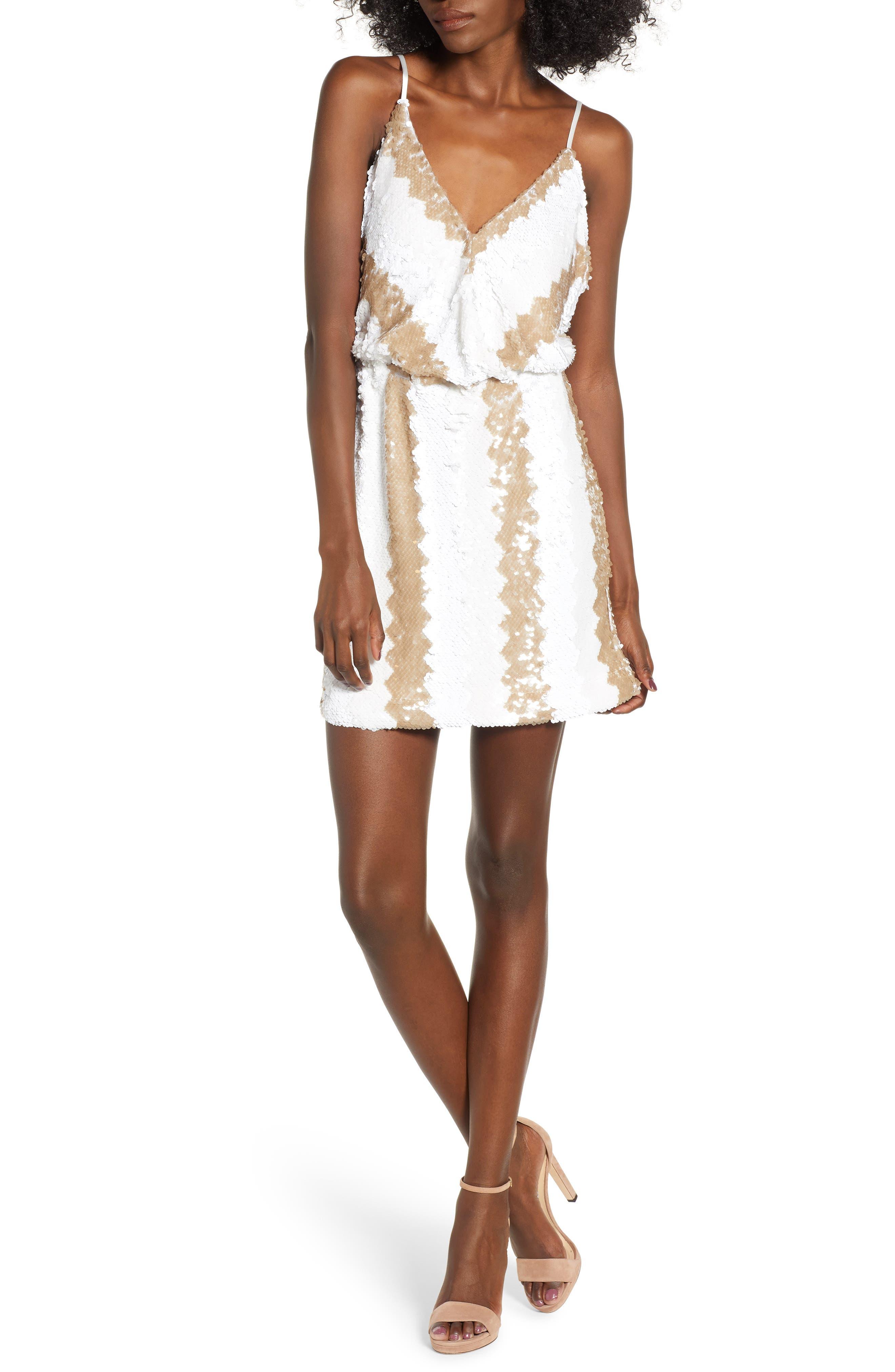 Sequin Minidress,                             Main thumbnail 1, color,                             WHITE